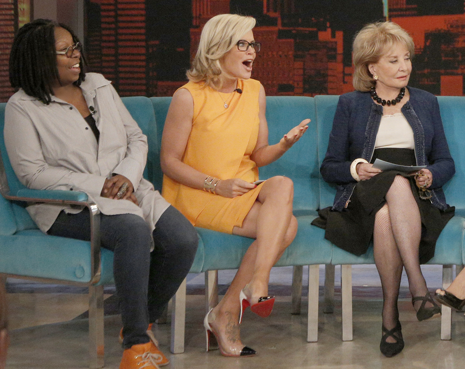"""Whoopi Goldberg, Jenny McCarthy and Barbara Walters appear on ABC's """"The View"""" in April 2014."""