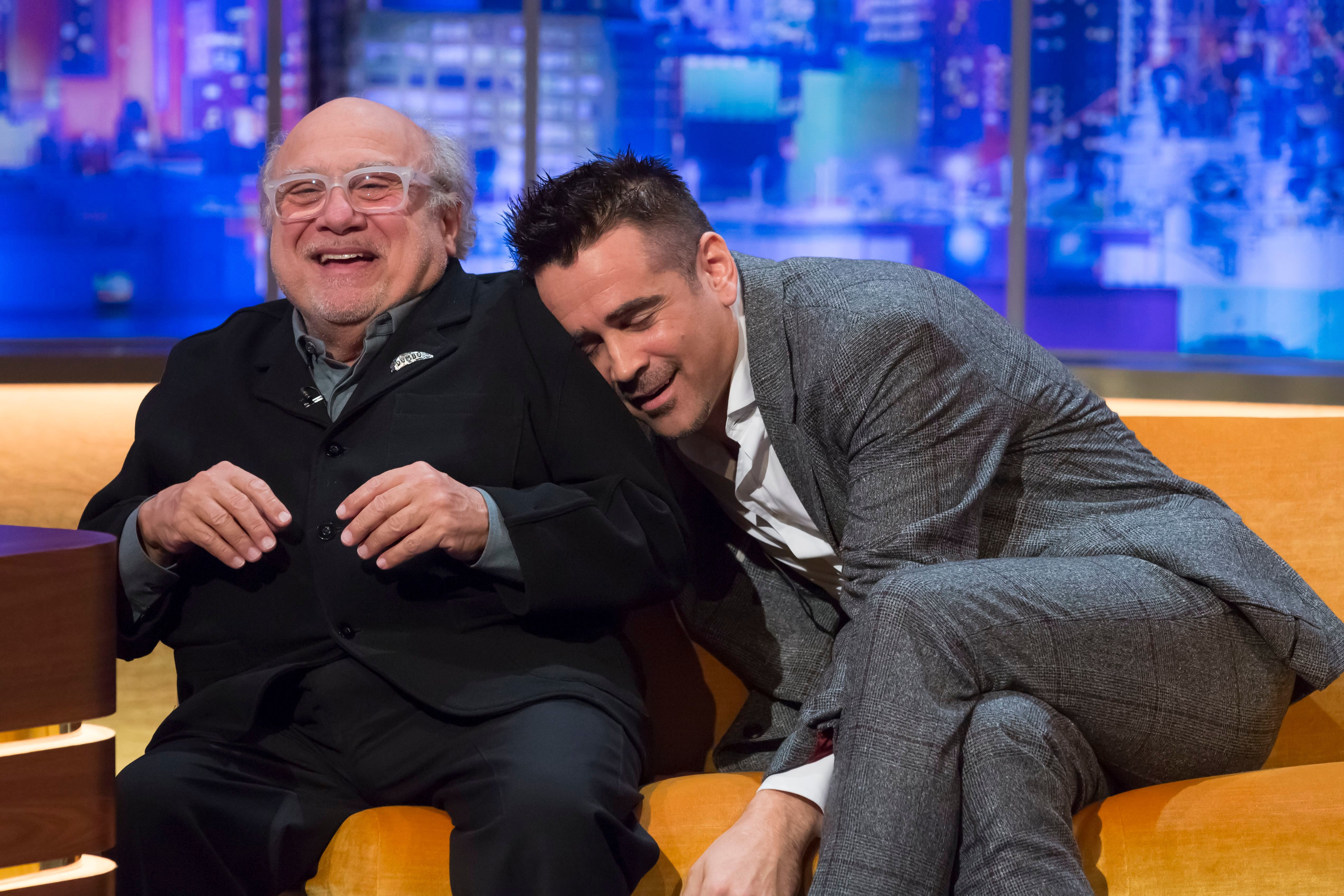 """Danny DeVito and Colin Farrell appear on """"The Jonathan Ross Show"""" TV show in London on March 22, 2019."""