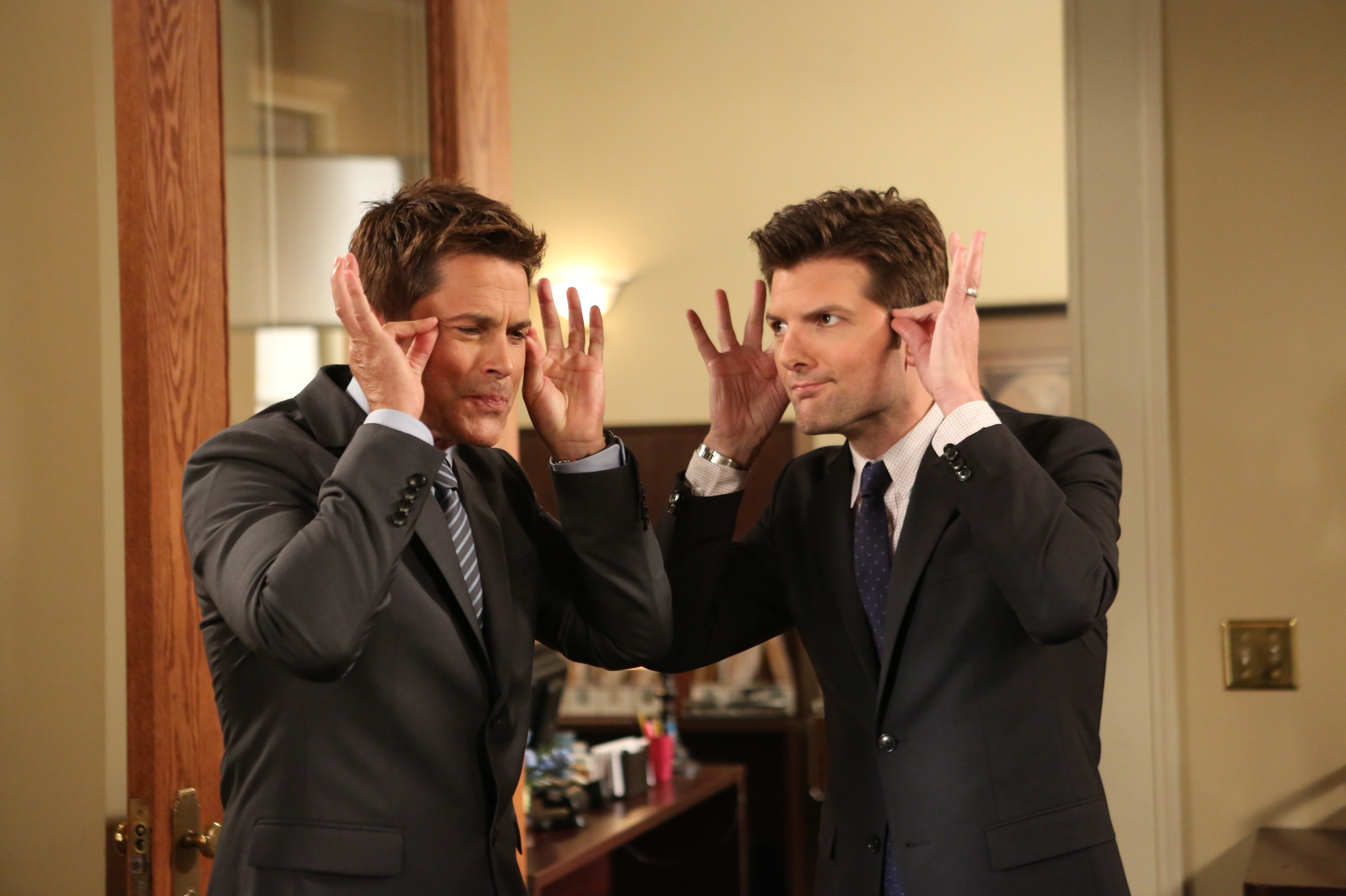 """Rob Lowe and Adam Scott in a scene from Season 6 of """"Parks and Recreation"""" which aired Oct. 3, 2013."""