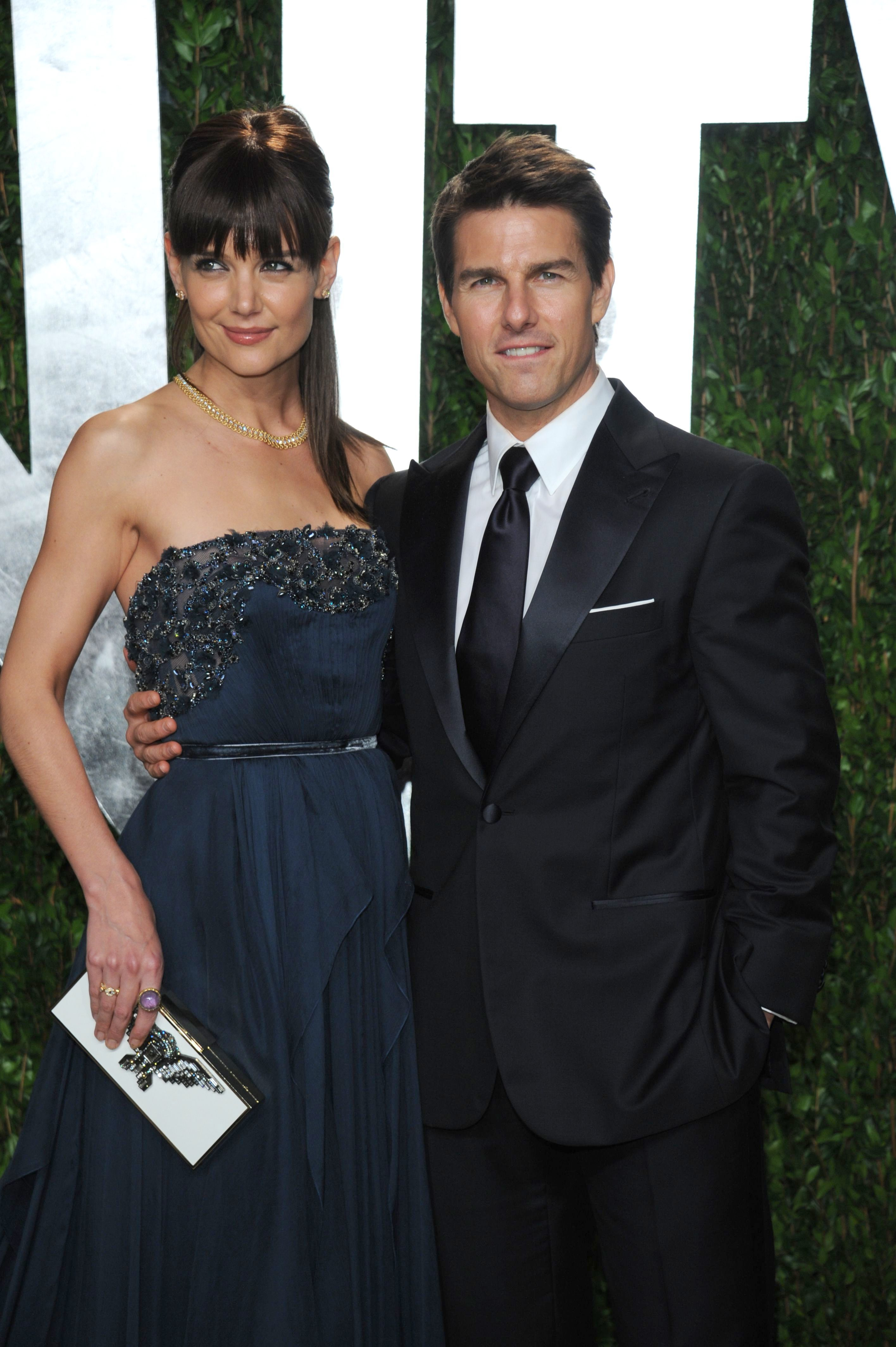 Katie Holmes and Tom Cruise attend the 84th Annual Academy Awards Vanity Fair Party in Los Angeles on Feb. 26, 2012.