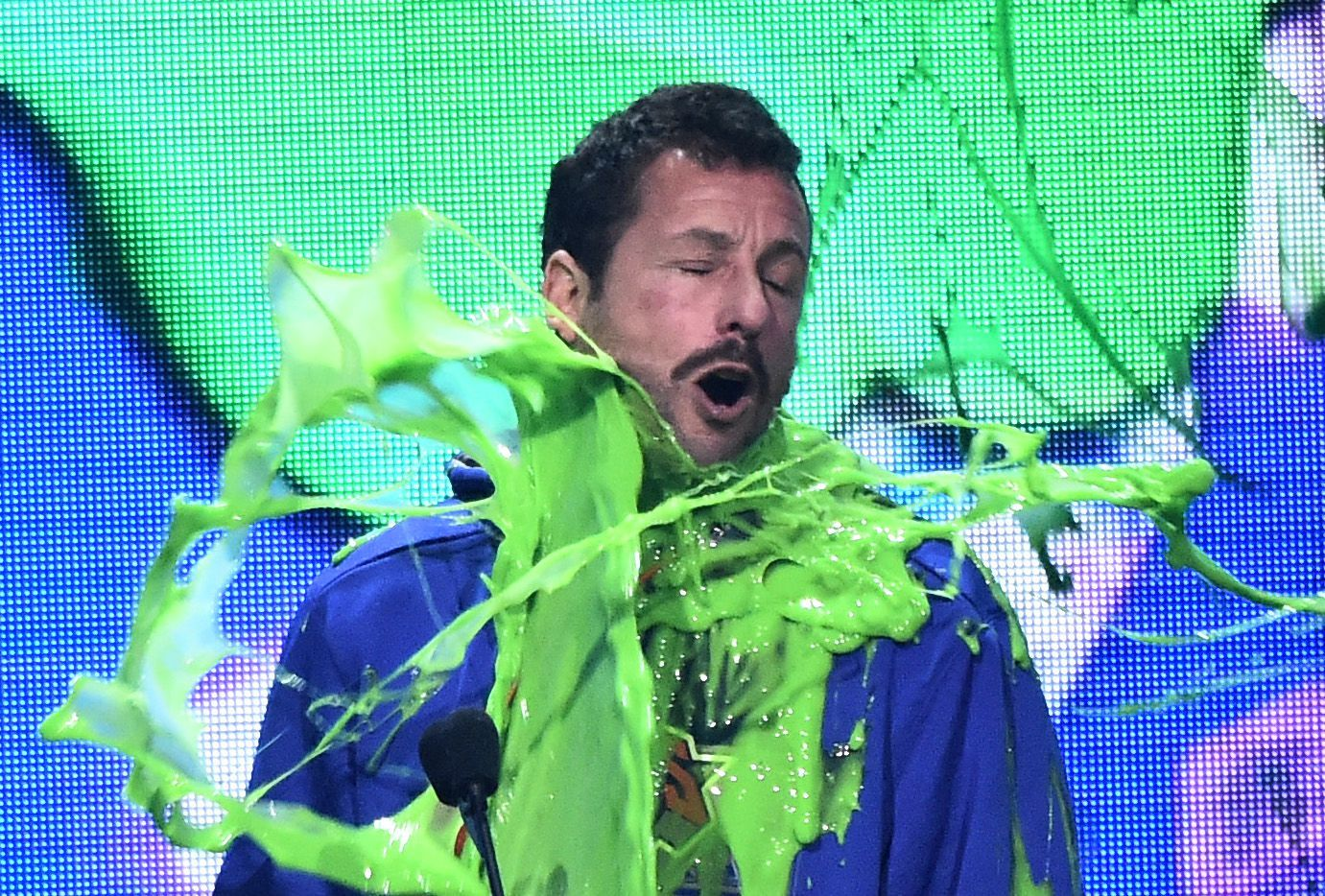 Adam Sandler attends the Nickelodeon Kids' Choice Awards in Los Angeles on March 23, 2019.