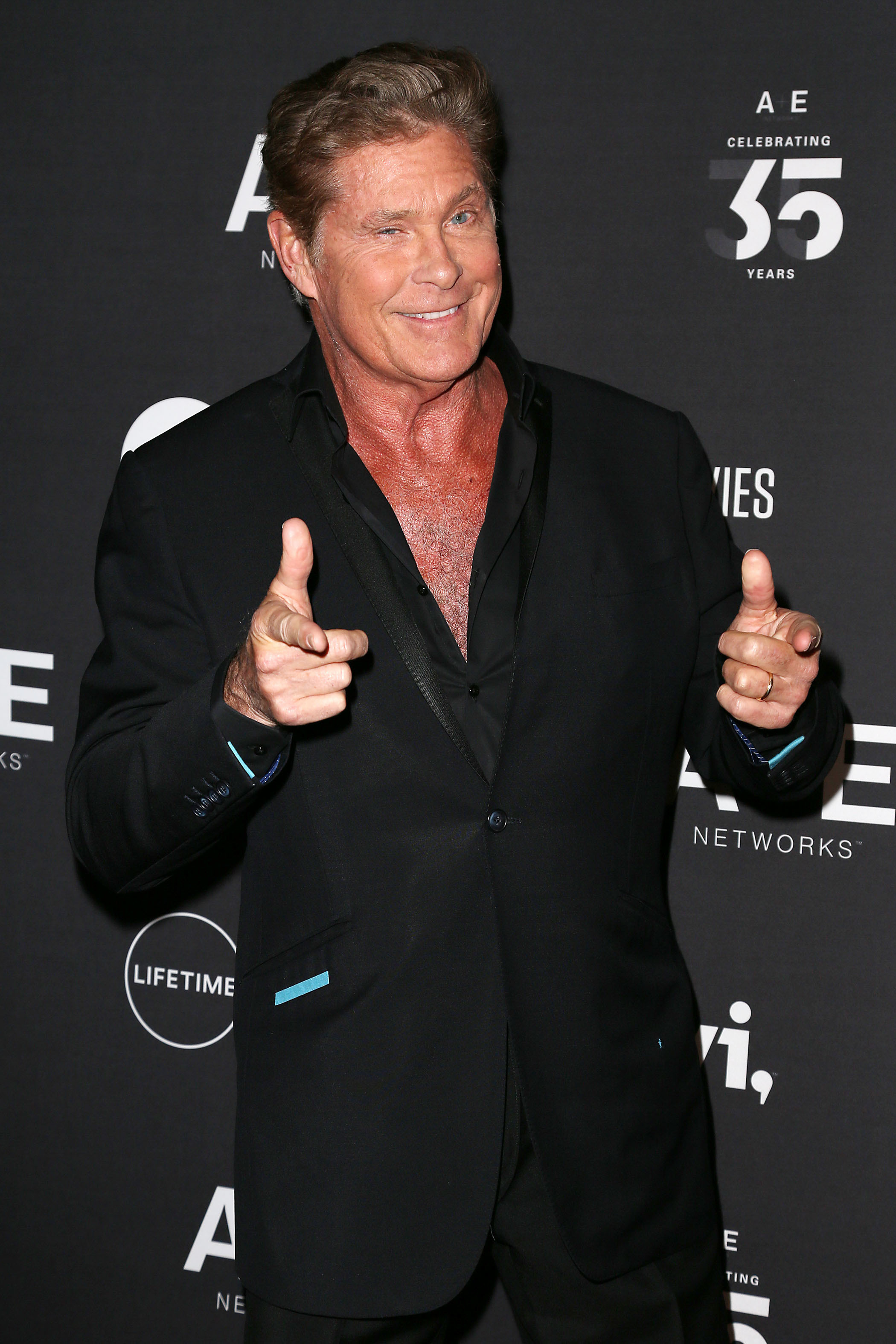 David Hasselhoff attends the A+E Networks' 2019 Upfront in New York City on March 27, 2019.