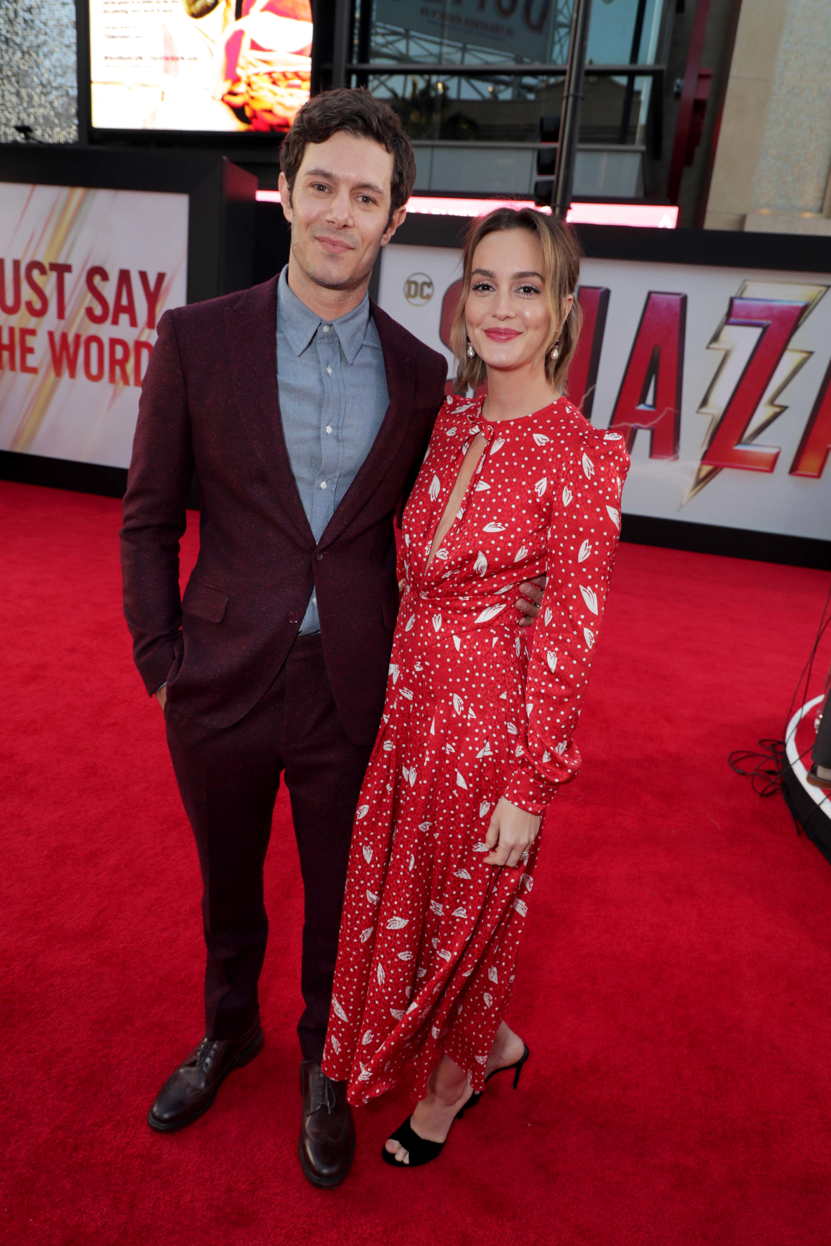 "Adam Brody and Leighton Meester attend the ""Shazam"" Film Premiere in Los Angeles on March 28, 2019."