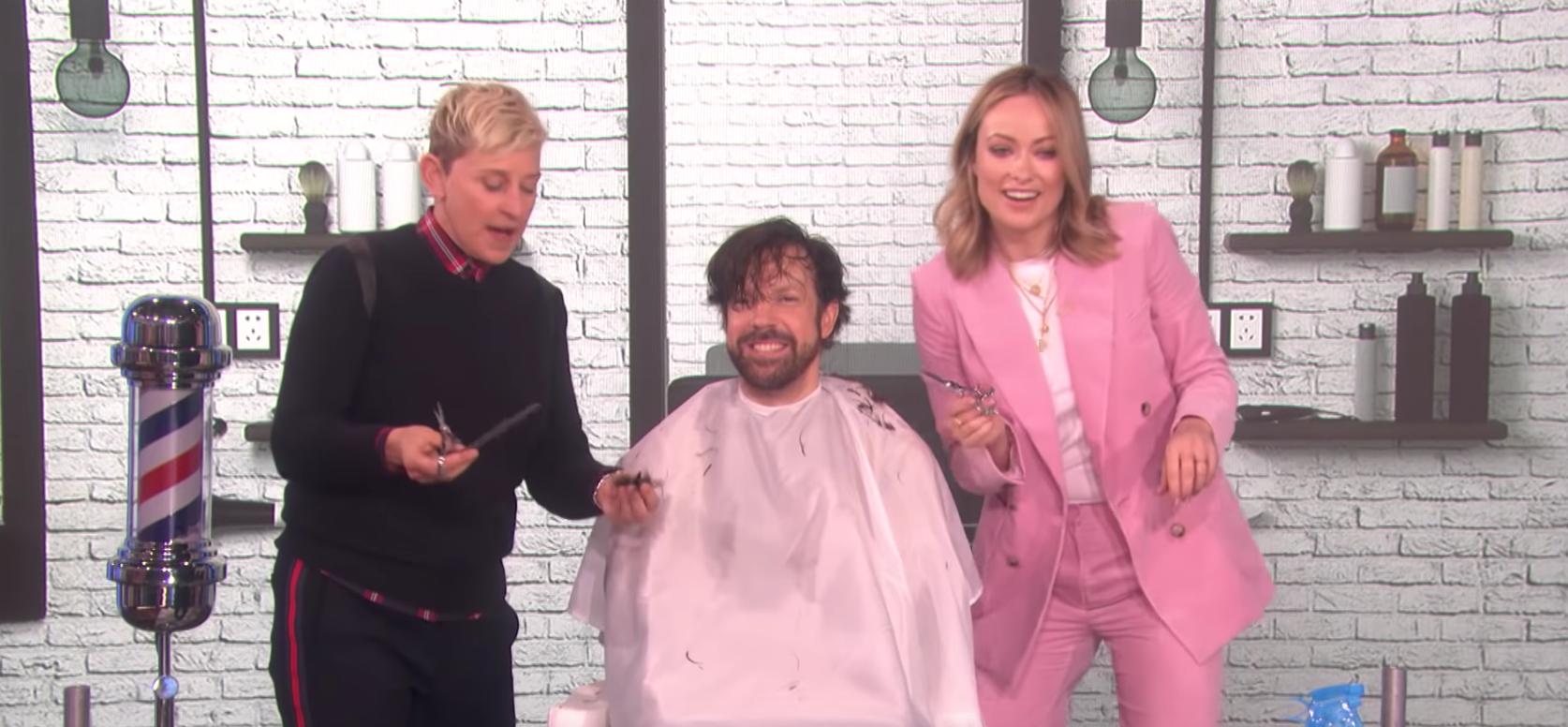 "Ellen DeGeneres, Jason Sudeikis and Olivia Wilde appear on ""The Ellen DeGeneres Show"" in 2019."
