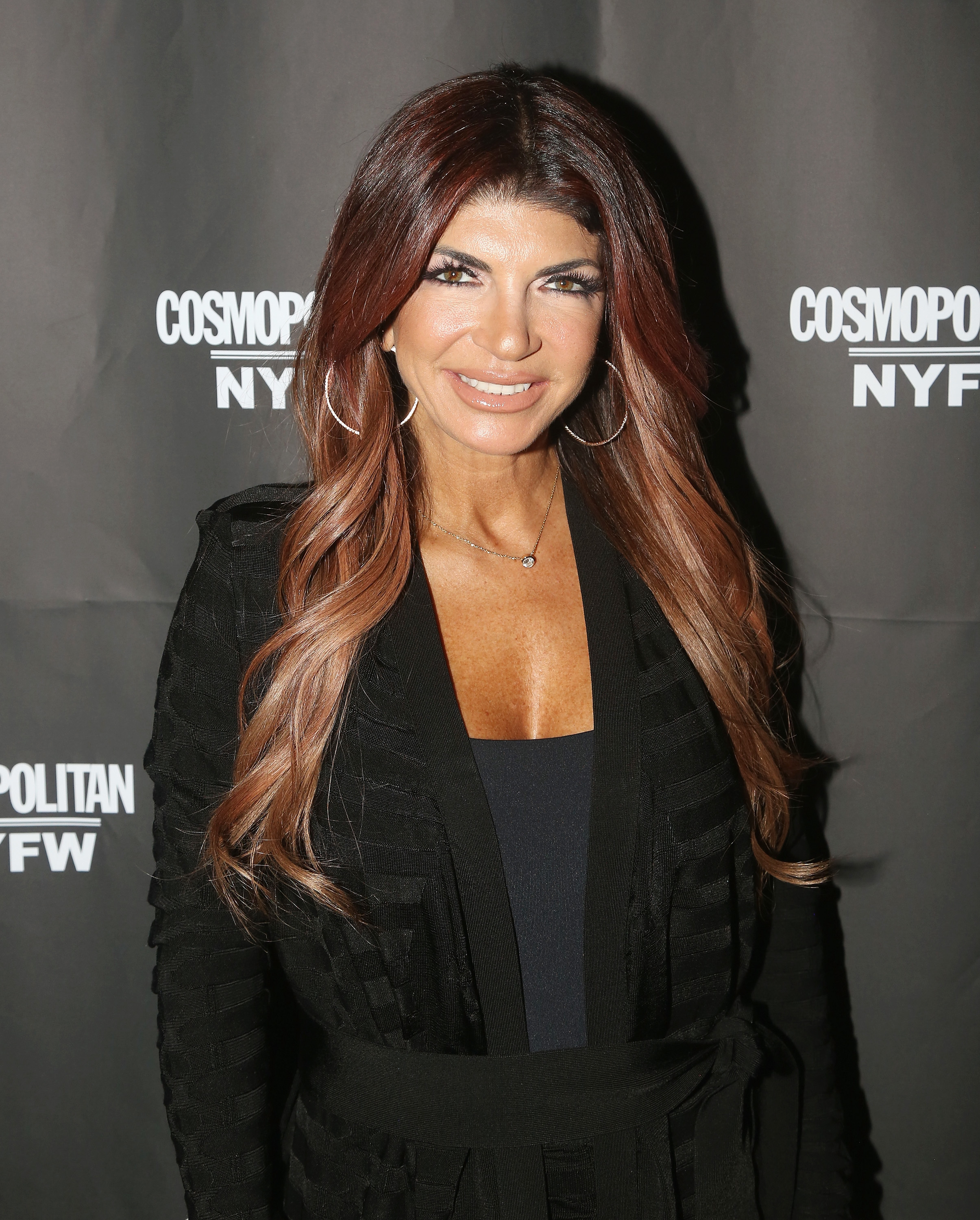 Teresa Giudice poses at the Cosmopolitan New York Fashon Week #Eye Candy event After Party at Planet Hollywood Times Square in New York City on Feb. 8, 2019.