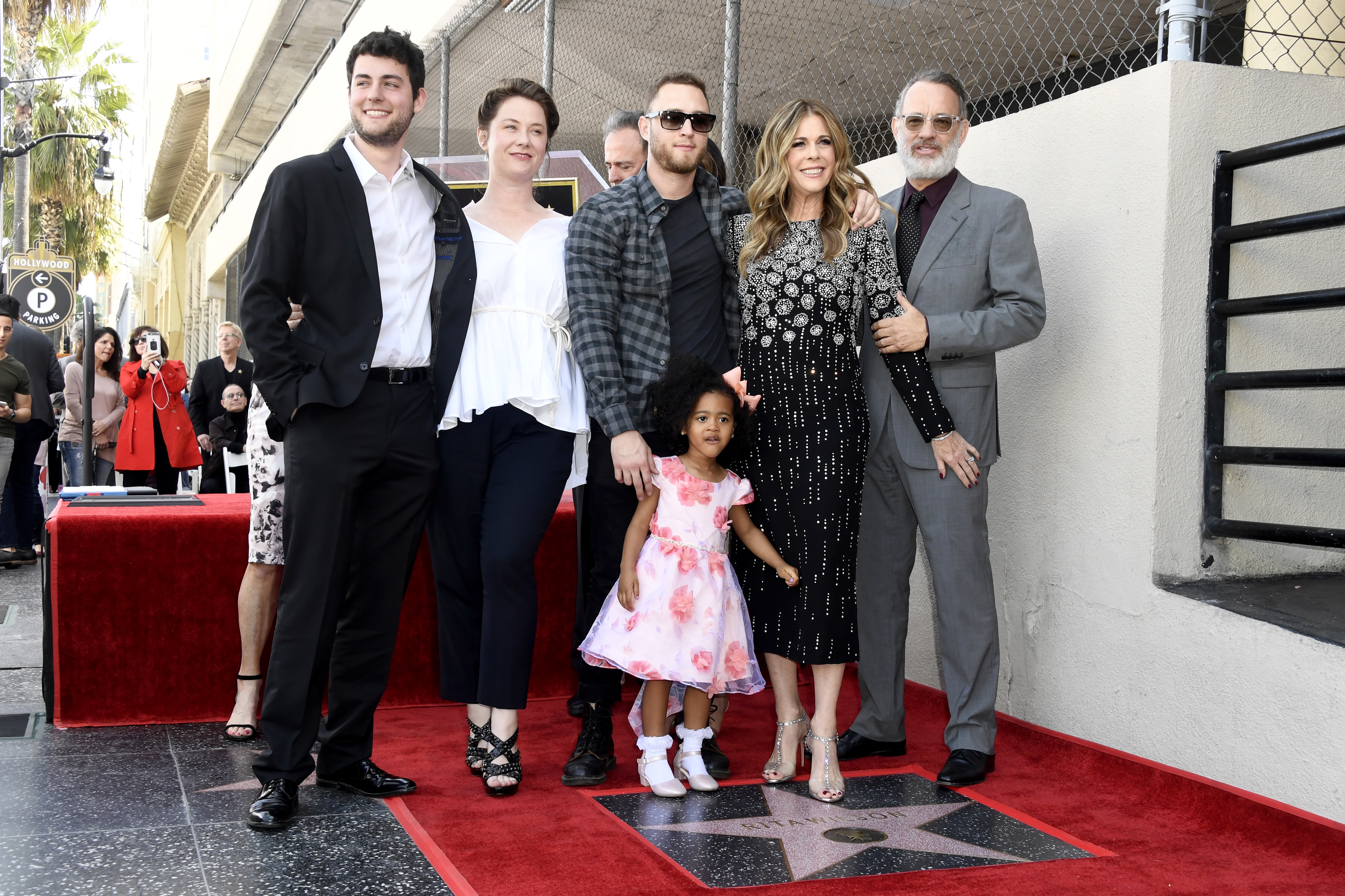 Truman Hanks, Elizabeth Hanks, Chet Hanks, Tom Hank and Michaiah Hanks support Rita Wilson as she receives a star on the Hollywood Walk of Fame on March 29, 2019.