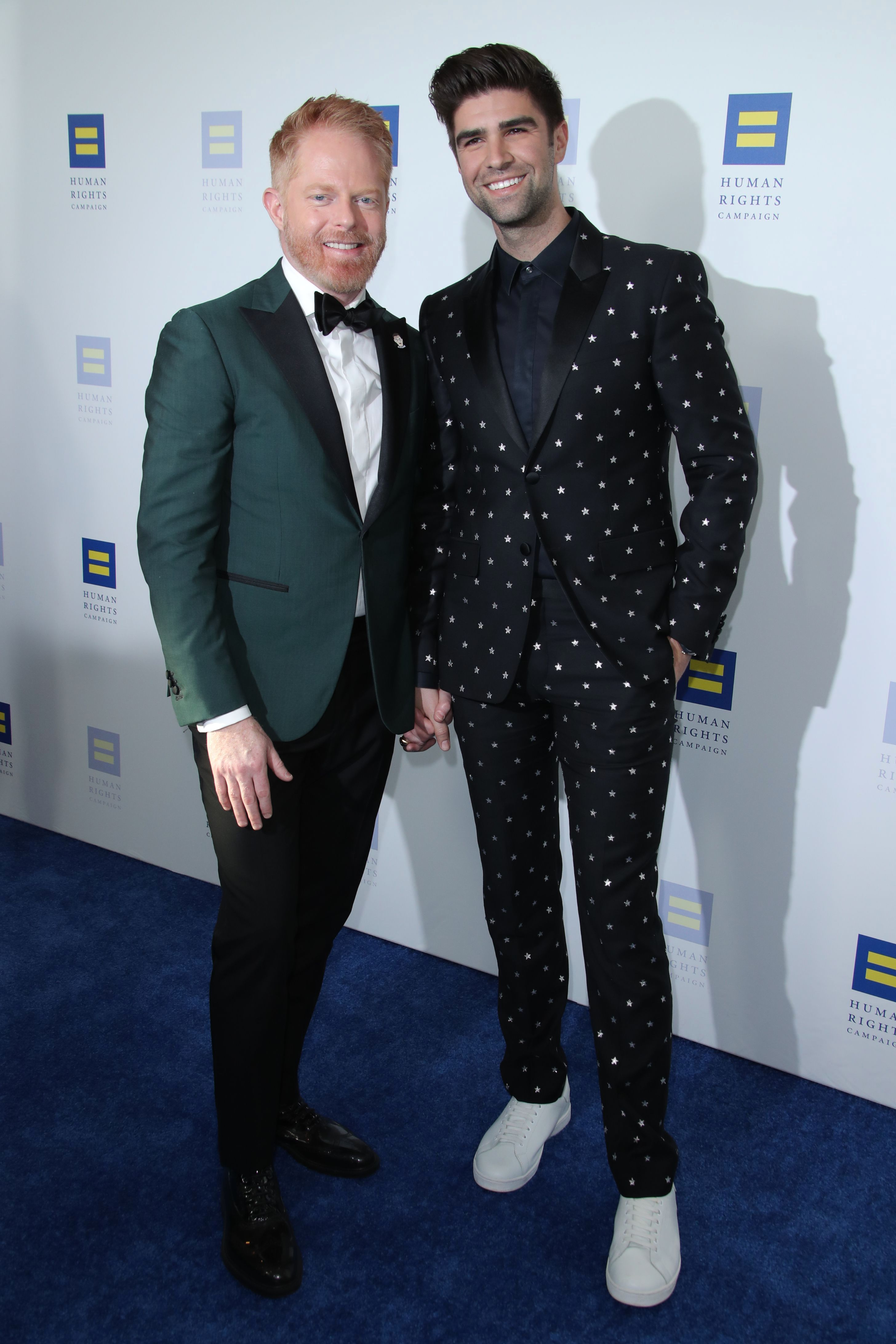 Jesse Tyler Ferguson and husband Justin Mikkita attend the Human Rights Campaign Dinner in Los Angeles on March 30, 2019.