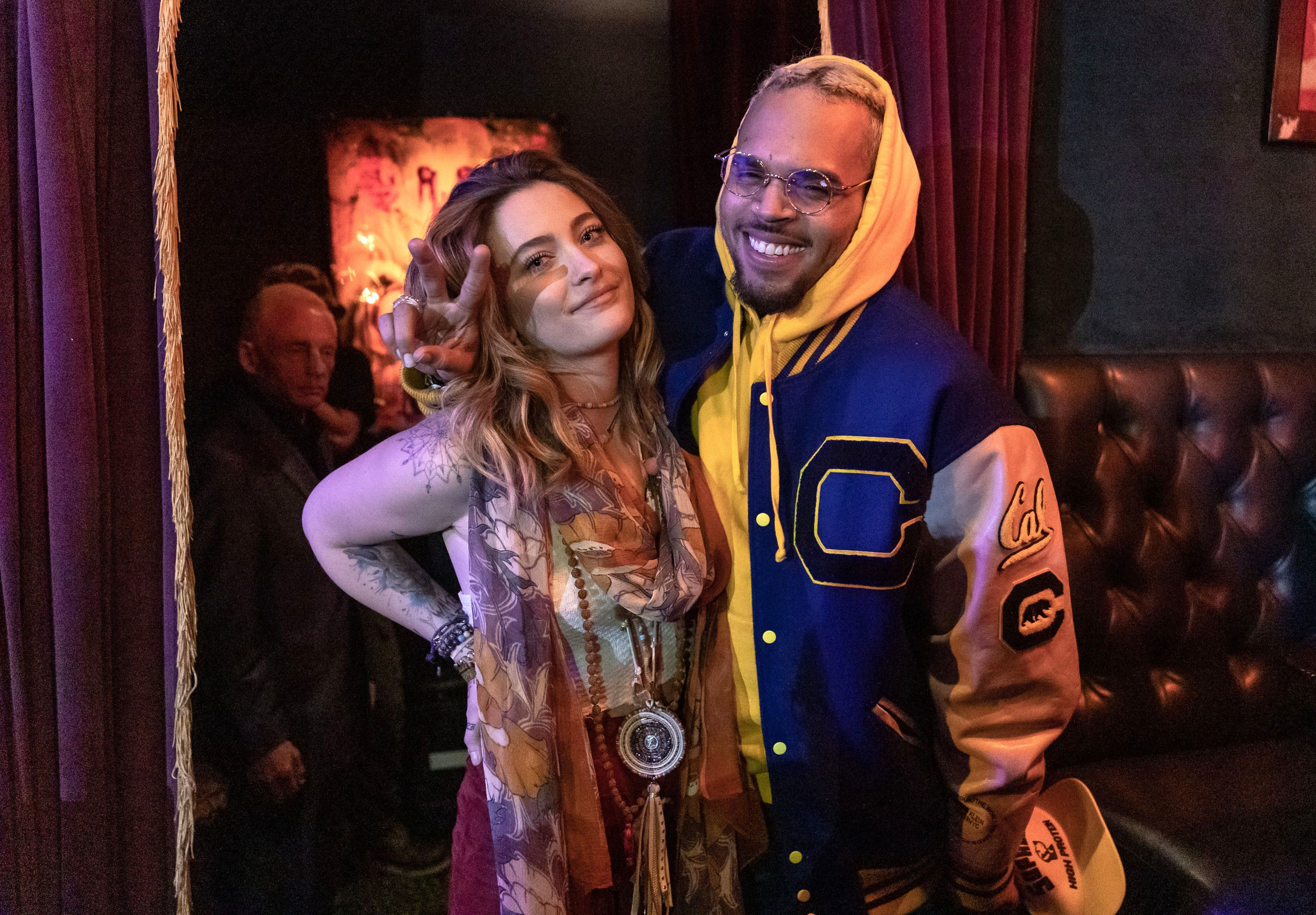 Paris Jackson and Chris Brown appear at The Soundflowers concert in Los Angeles on March 30, 2019.