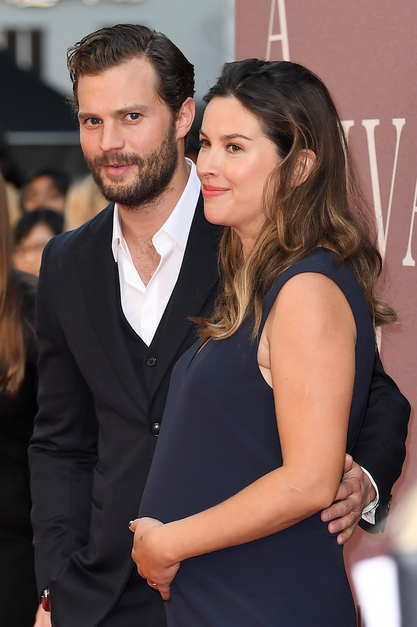 """Jamie Dornan and Amelia Warner arrive at the premiere of """"A Private War"""" at the BFI London Film Festival on Oct. 20, 2018."""