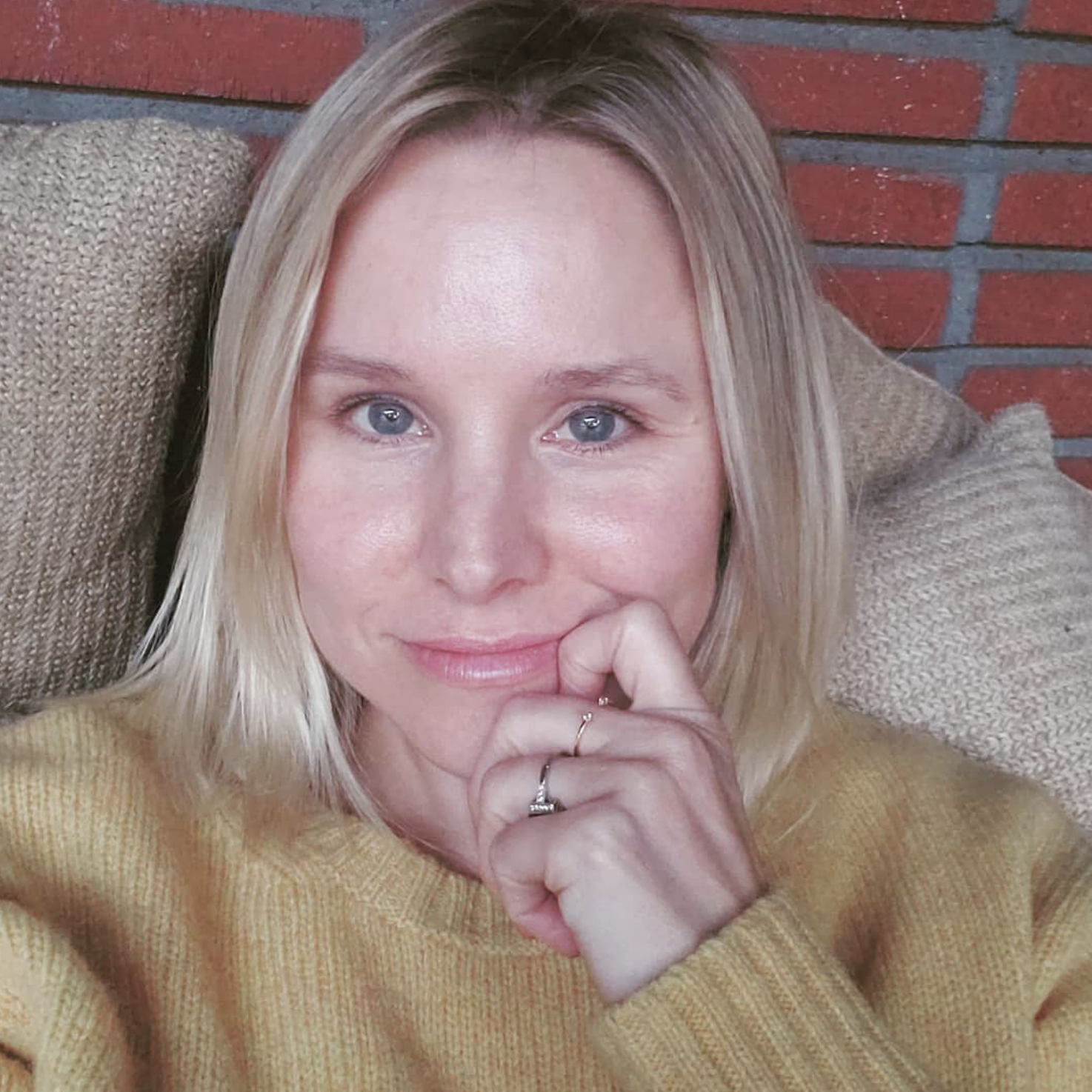 """""""Look, I MAY have just ordered BRIGHT blue colored contacts IN CASE someone invites me to a GAME OF THRONES dress up party, so I can BE PREPARED to go as the DEAD DRAGON. #gameofthrones @gameofthrones""""   Kristen Bell, who posted this selfie on Instagram on March 18, 2019"""