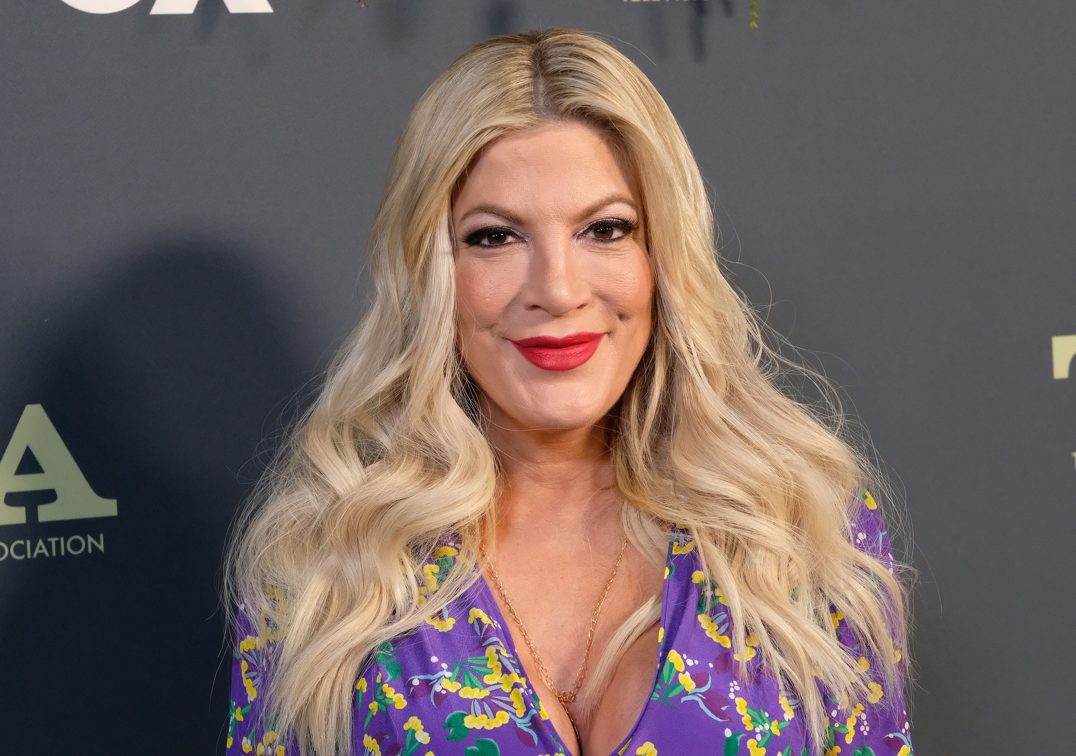 Tori Spelling attends the Fox Winter All Star Party as part of the TCA Winter Press Tour in Los Angeles on Feb. 6, 2019.