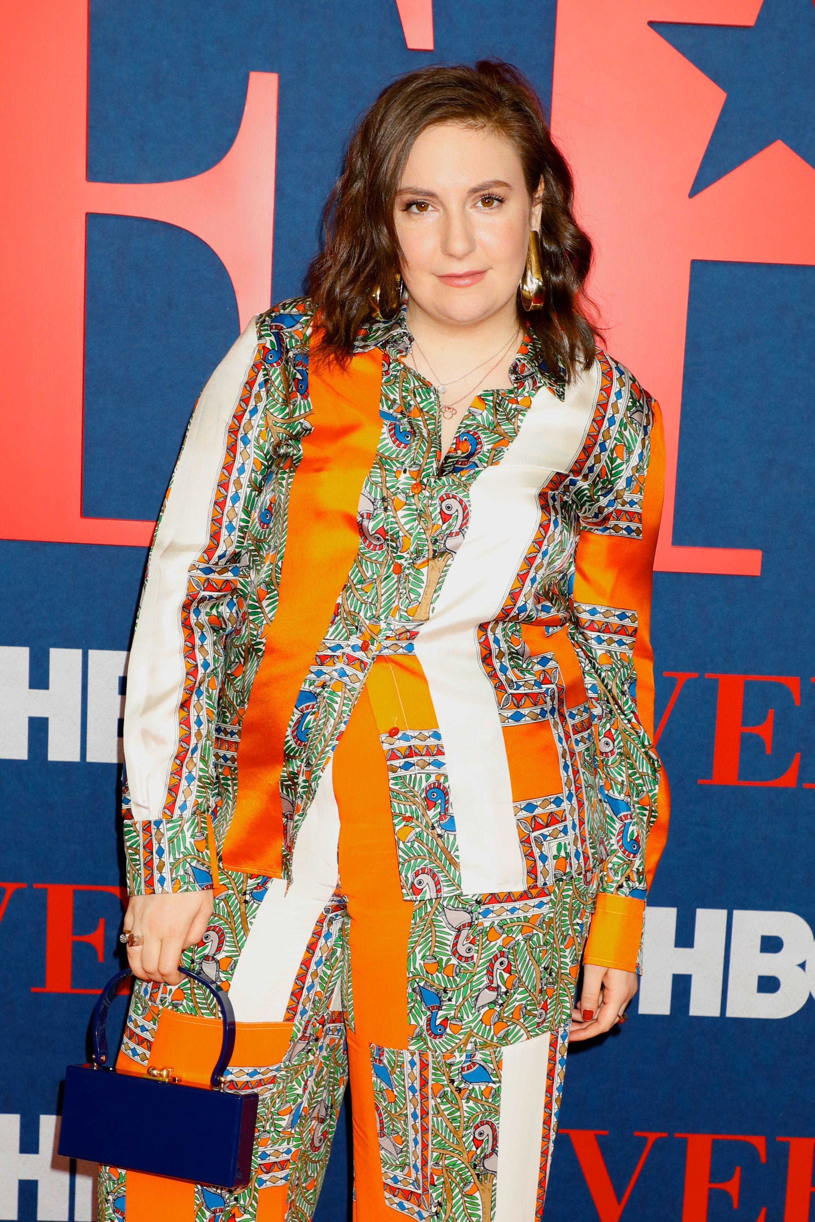 """Lena Dunham arrives at the """"Veep"""" final season premiere in New York City on March 26, 2019."""