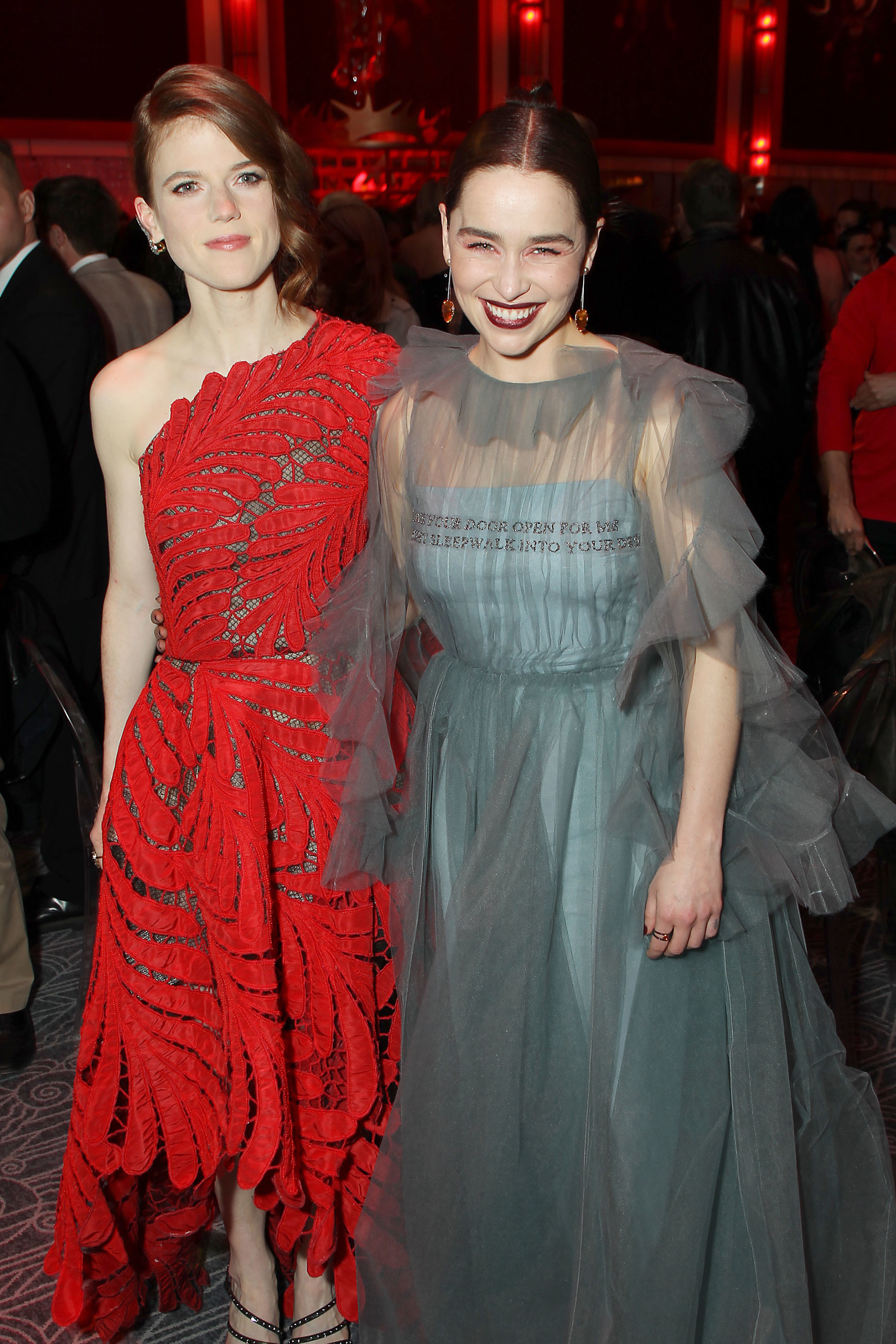 """Rose Leslie and Emilia Clarke attend the """"Game of Thrones"""" Season 8 premiere afterparty in New York City on April 3, 2019."""