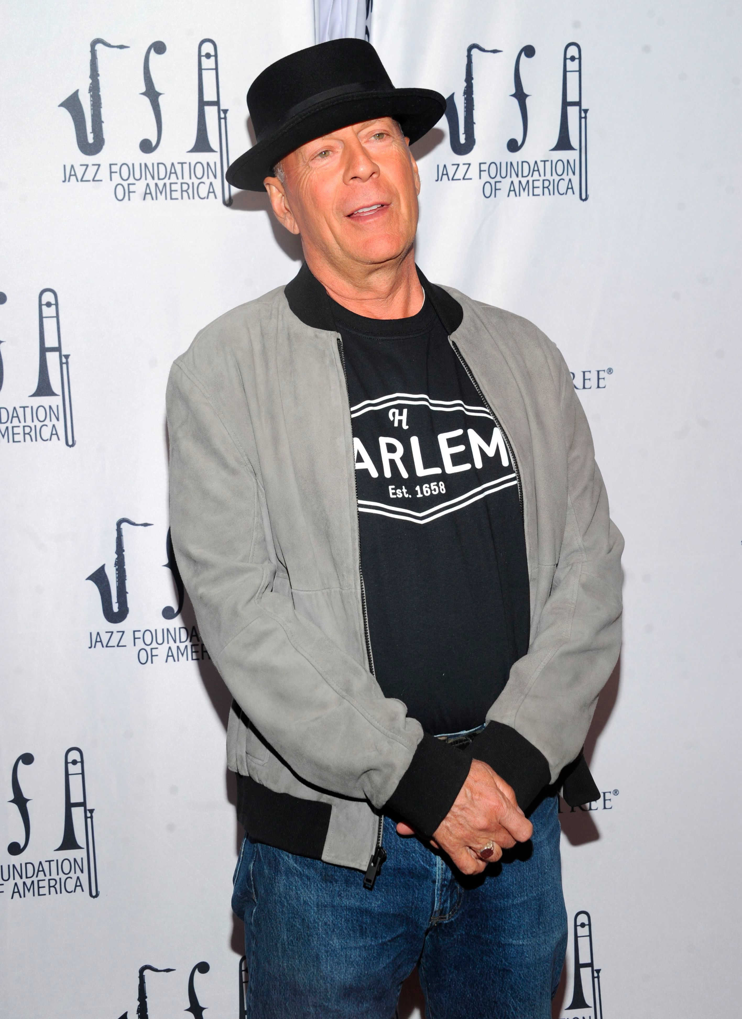 """Bruce Willis walks the red carpet at the Jazz Foundation of America's 17th annual """"A Great Night In Harlem"""" gala concert at The Apollo Theater in New York City on April 4, 2019."""