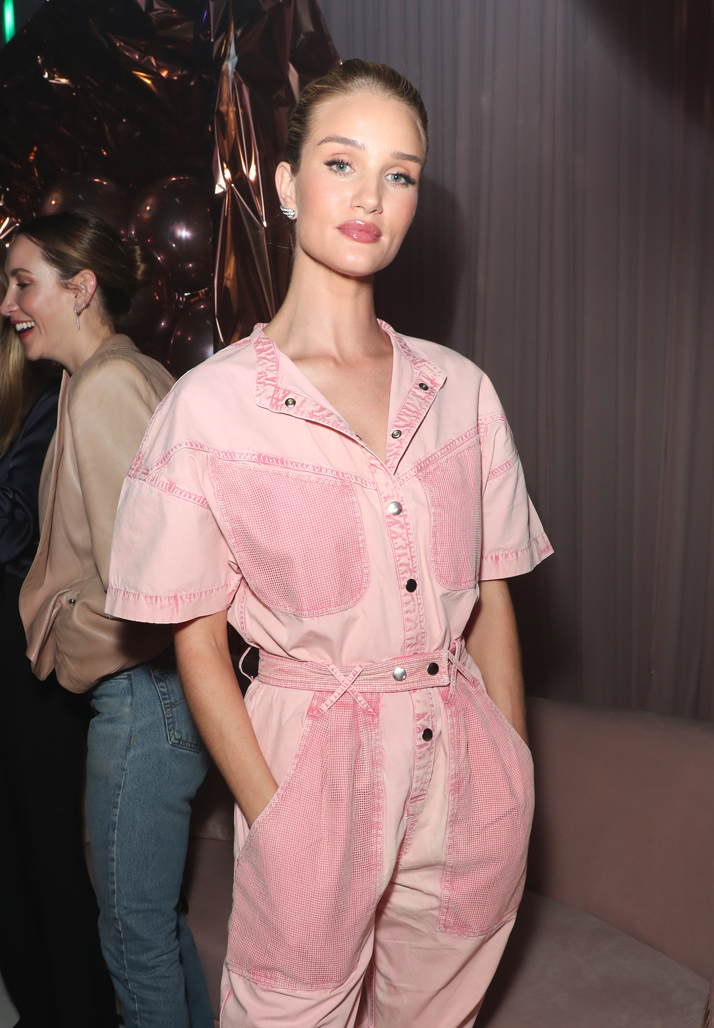 Rosie Huntington Whiteley attends the Patrick Ta Beauty Launch Party in Los Angeles on April 4, 2019.