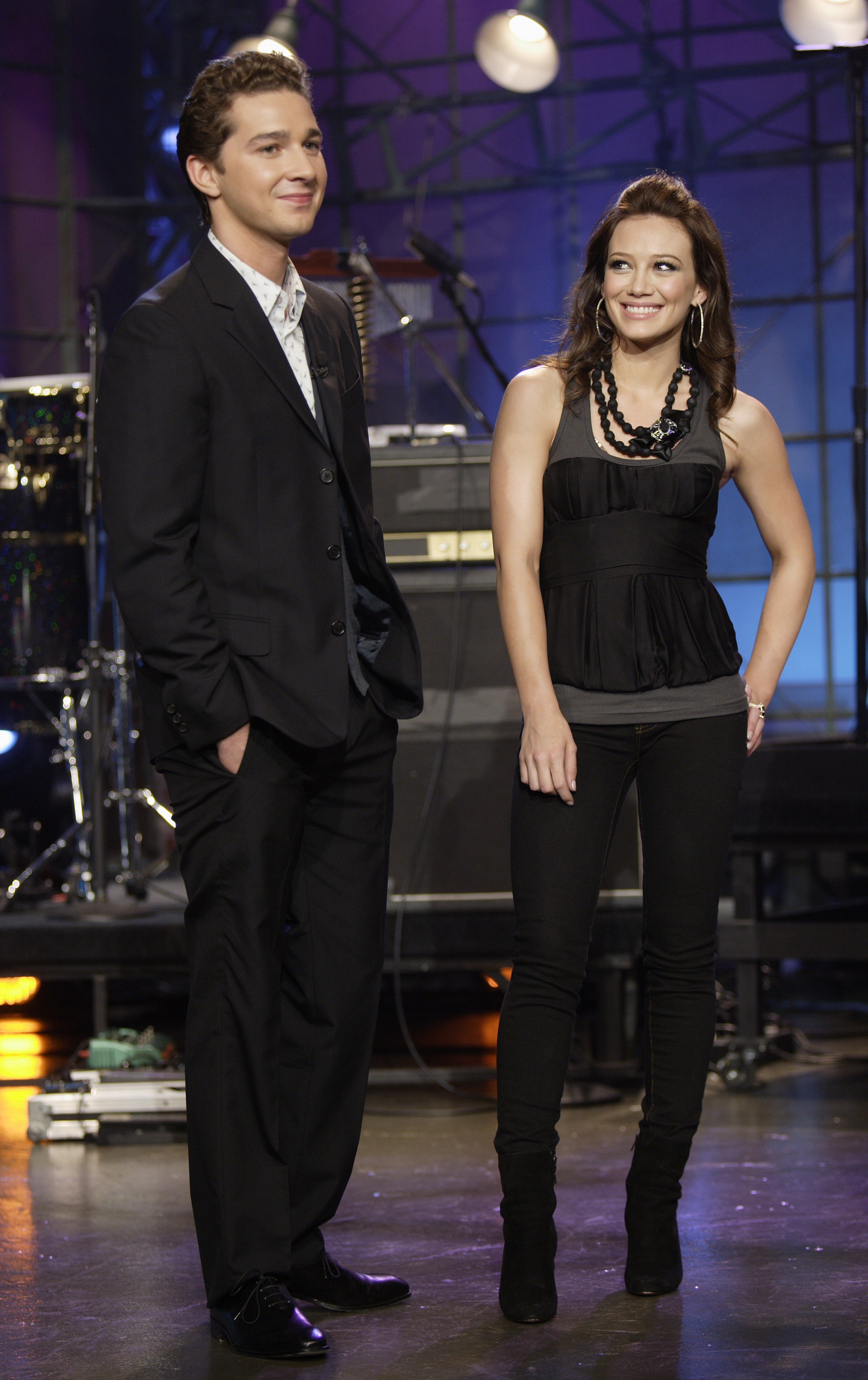 """Actor Shia LaBeouf and musical guest Hilary Duff on """"The Tonight Show"""" on April 2, 2007."""
