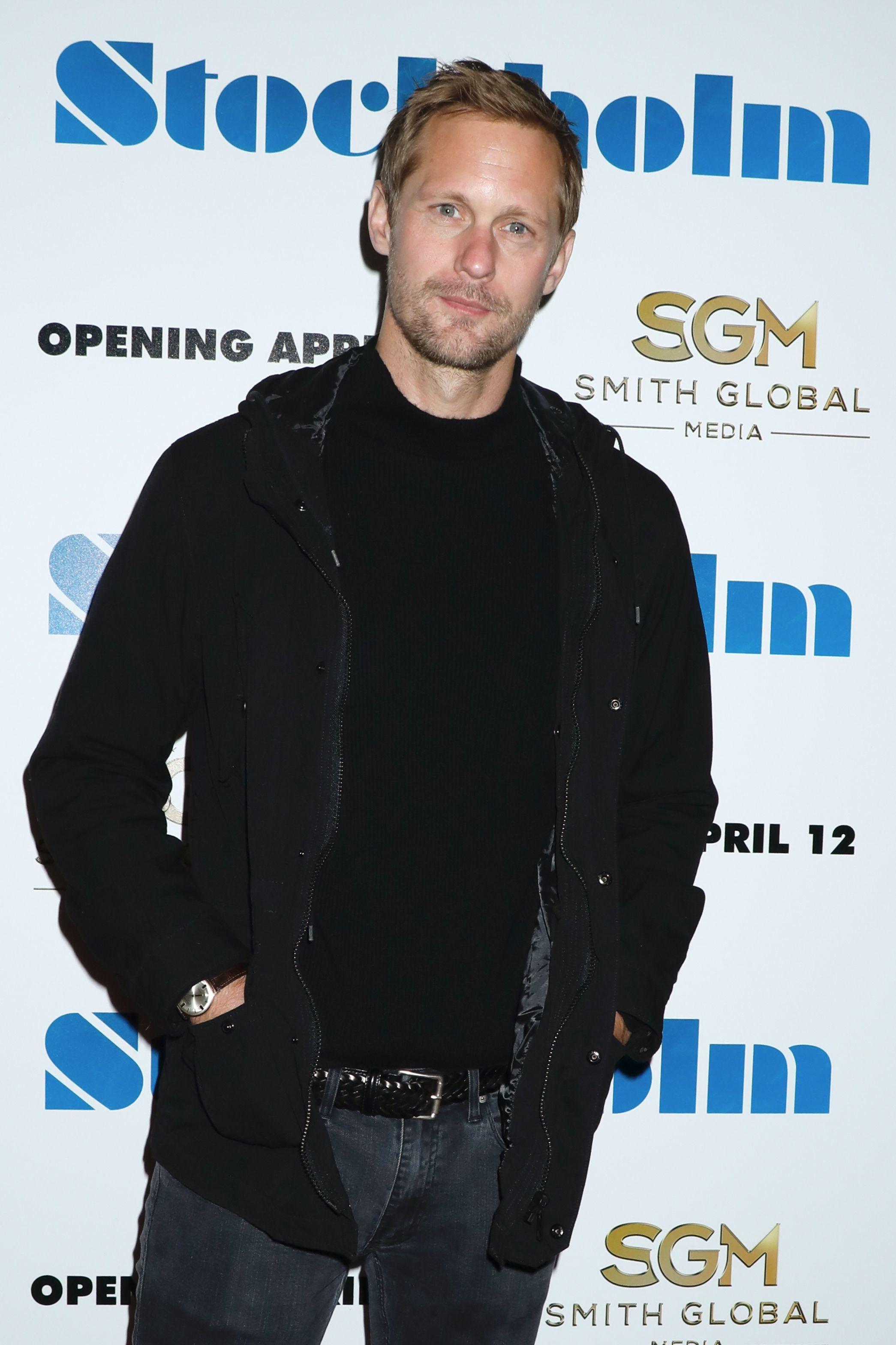 "Alexander Skarsgard attends the ""Stockholm"" film premiere in New York City on April 11, 2019."