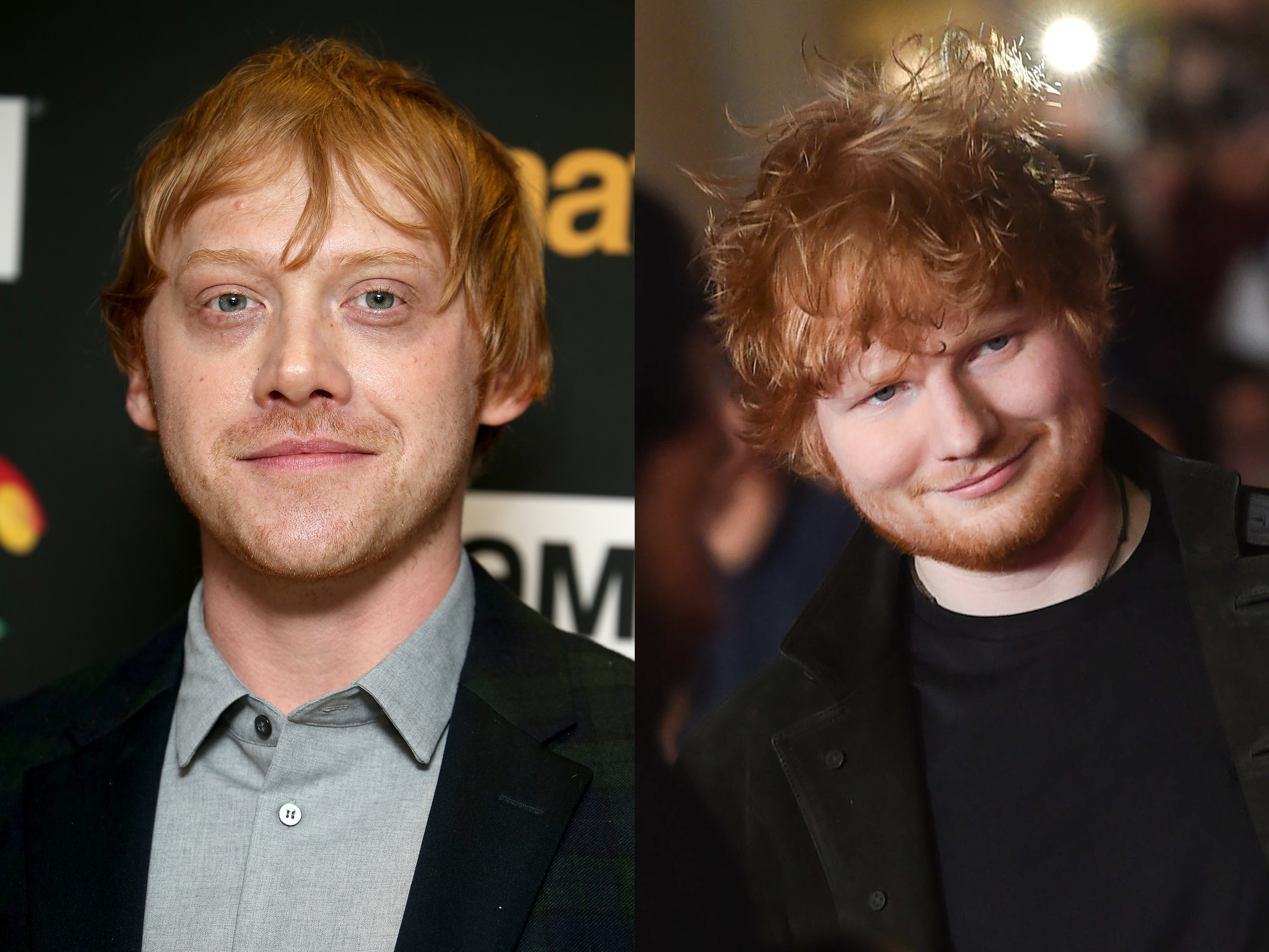 Rupert Grint (L) attends the 'Snatch' TV show premiere at BT Tower in London, England on Sept. 28, 2017. Ed Sheeran (R) attends the 19th NRJ Music Awards in Cannes, France on Nov. 4, 2017.