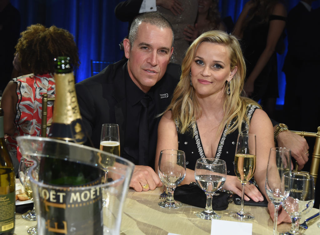 Jim Toth and Reese Witherspoon attend Moet & Chandon celebrate The 23rd Annual Critics' Choice Awards at Barker Hangar in Santa Monica, California on Jan. 11, 2018.