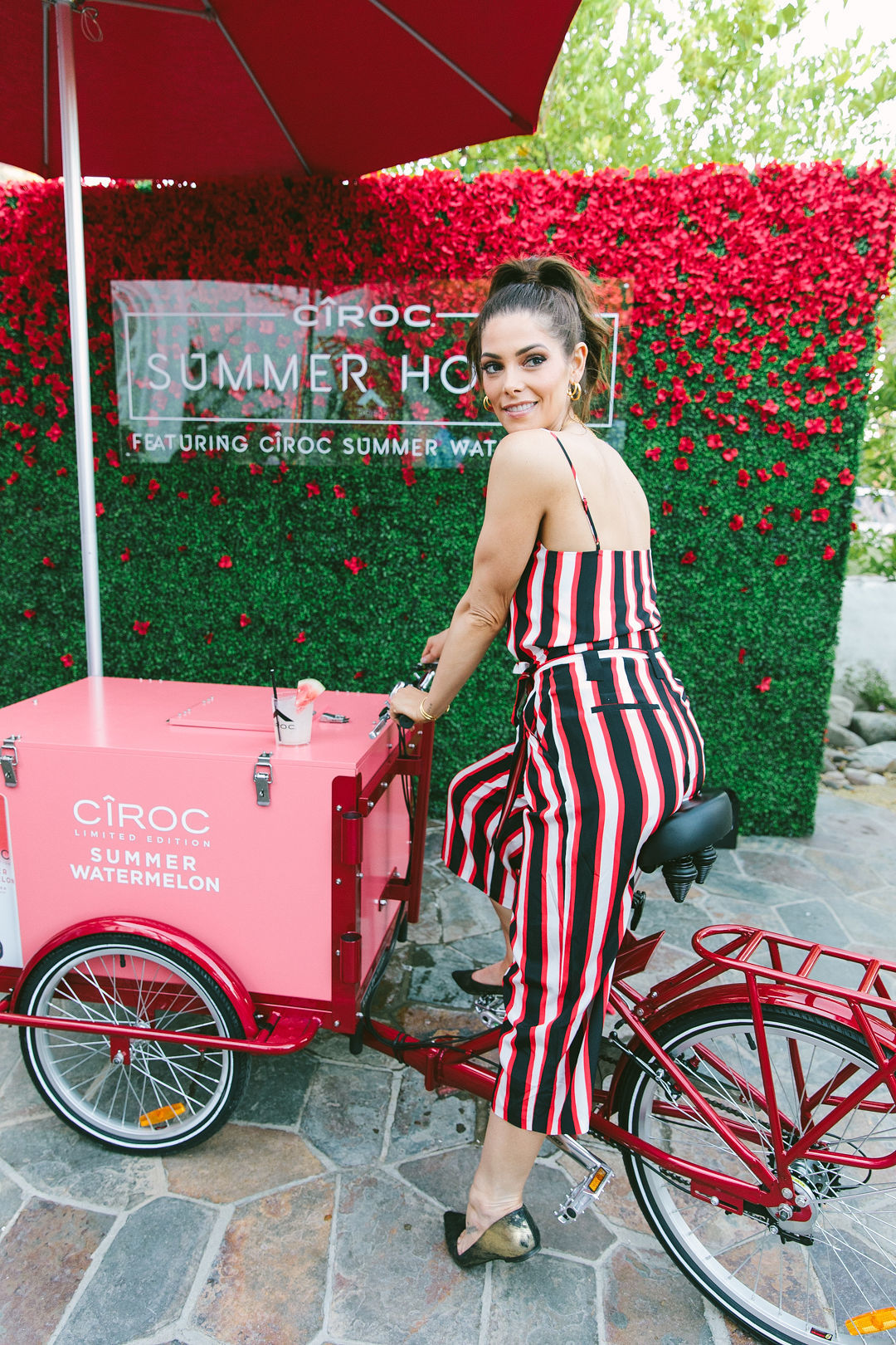 Ashley Greene visits the CÎROC Summer House with CÎROC Limited Edition Summer Watermelon during Coachella at Korakia Pensione in Palm Springs, California, on April 12, 2019.