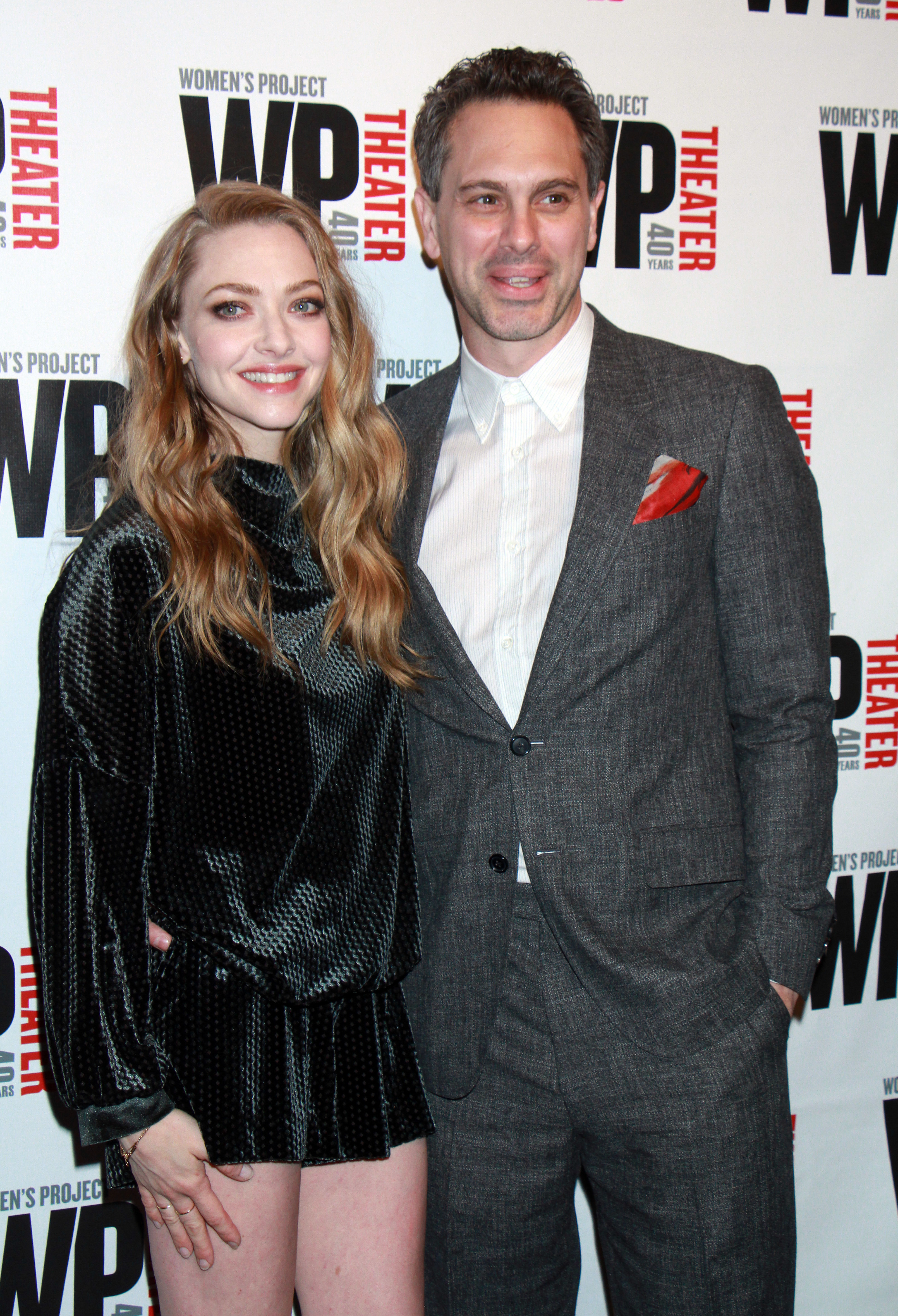 Amanda Seyfried and Thomas Sadowski attend the WP Theater 40th Anniversary Gala in New York City on April 15, 2019.