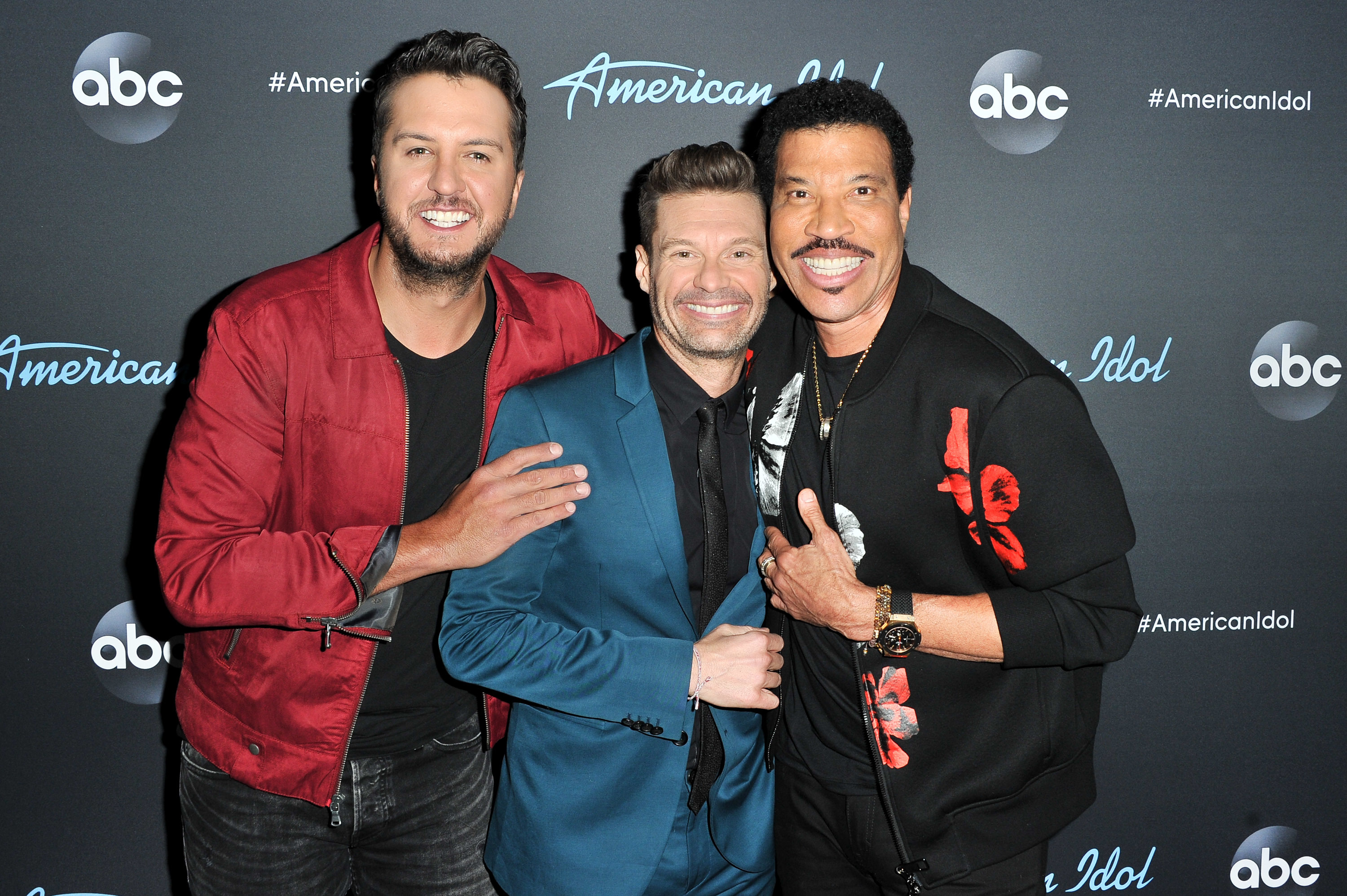 """Luke Bryan, Ryan Seacrest and Lionel Richie pose for a photo after ABC's """"American Idol"""" live show in Los Angeles on April 15, 2019."""