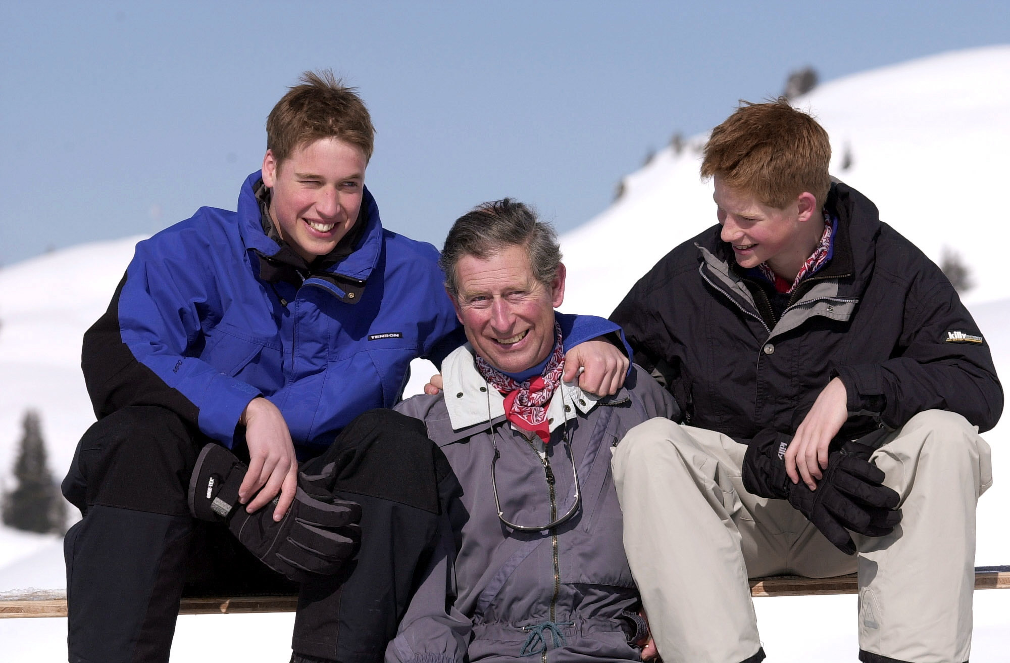 Prince Charles, Prince William and Prince Harry on a skiing holiday in Klosters, Switzerland on April 7, 2000.
