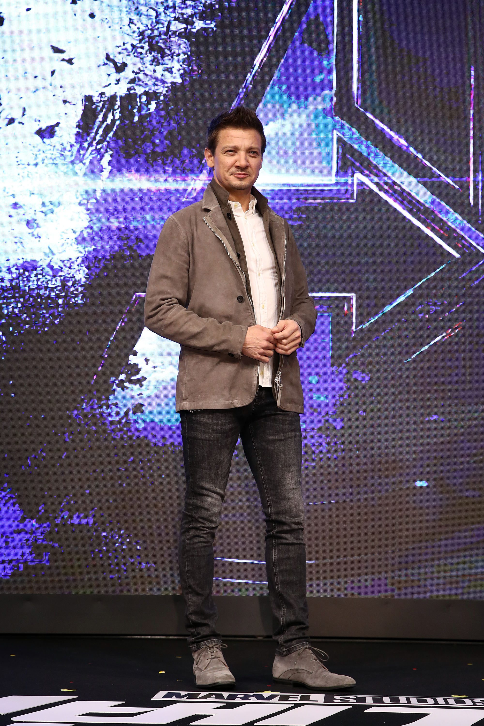 Jeremy Renner attends the press conference for Marvel Studios' 'Avengers: Endgame' South Korea premiere in Seoul, South Korea on April 15, 2019.