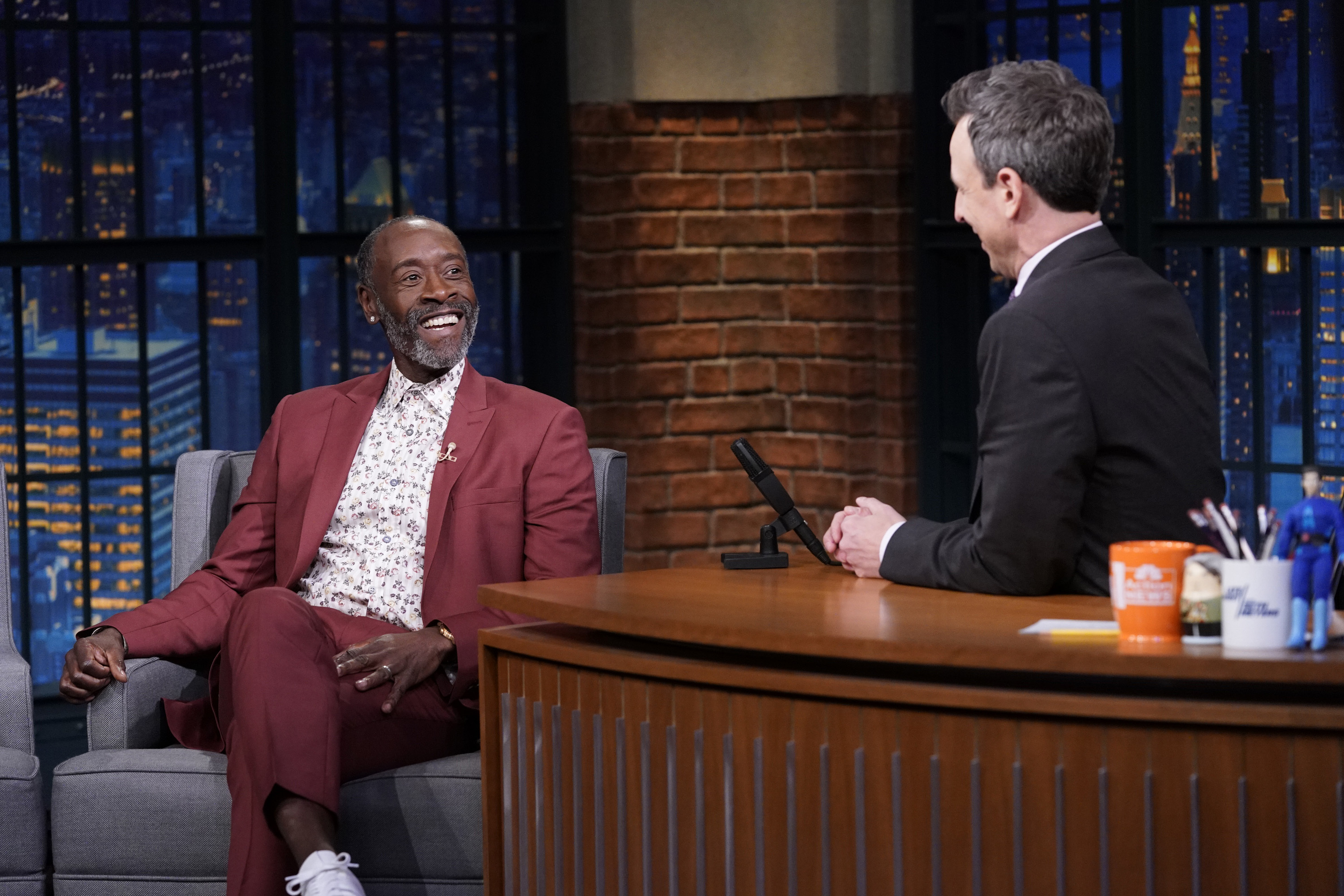 Don Cheadle during an interview with host Seth Meyers on February 12, 2019.