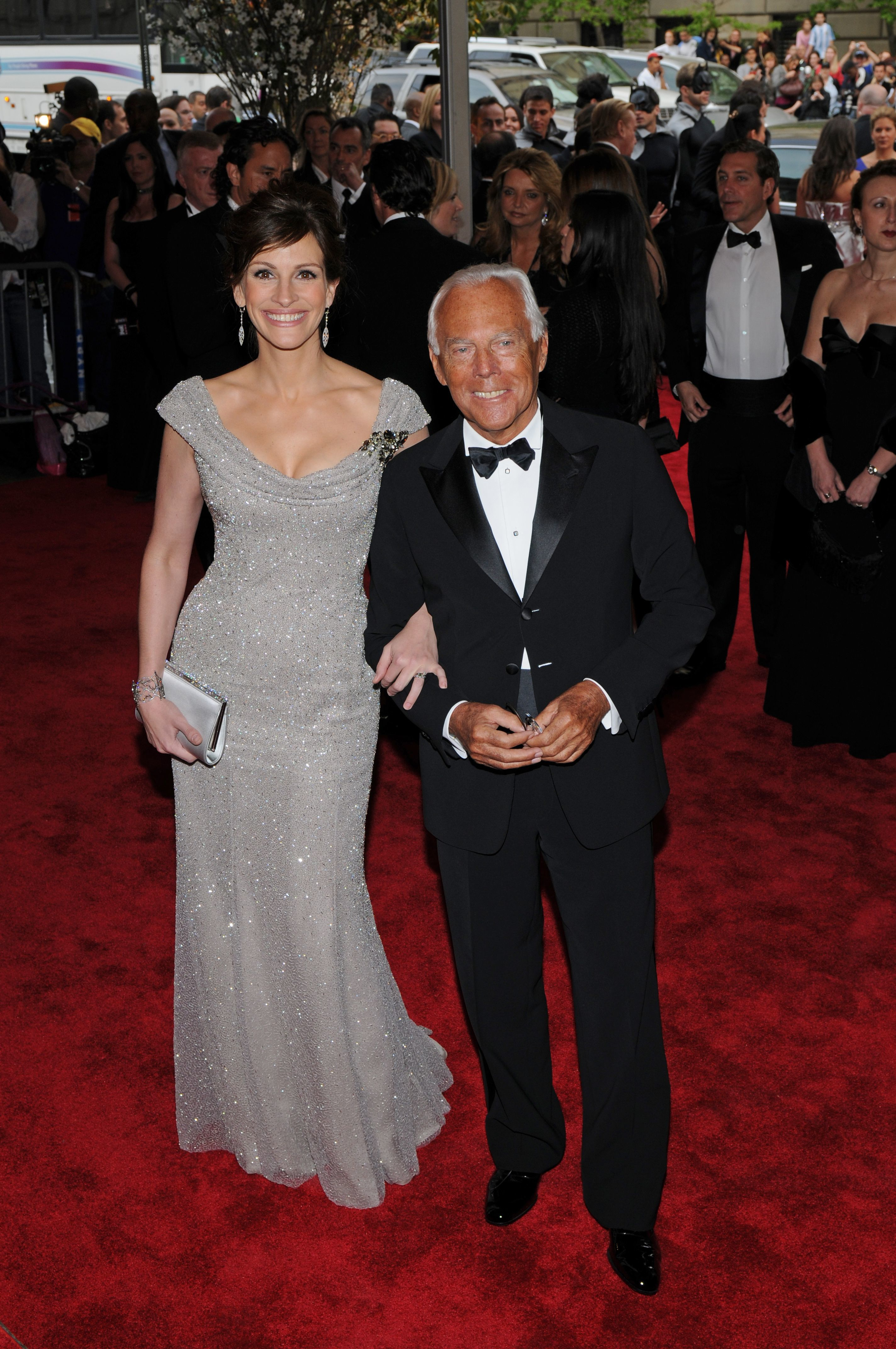 Julia Roberts and Giorgio Armani attend the Metropolitan Museum of Art's annual Costume Institute gala on May 5, 2008 in New York City.