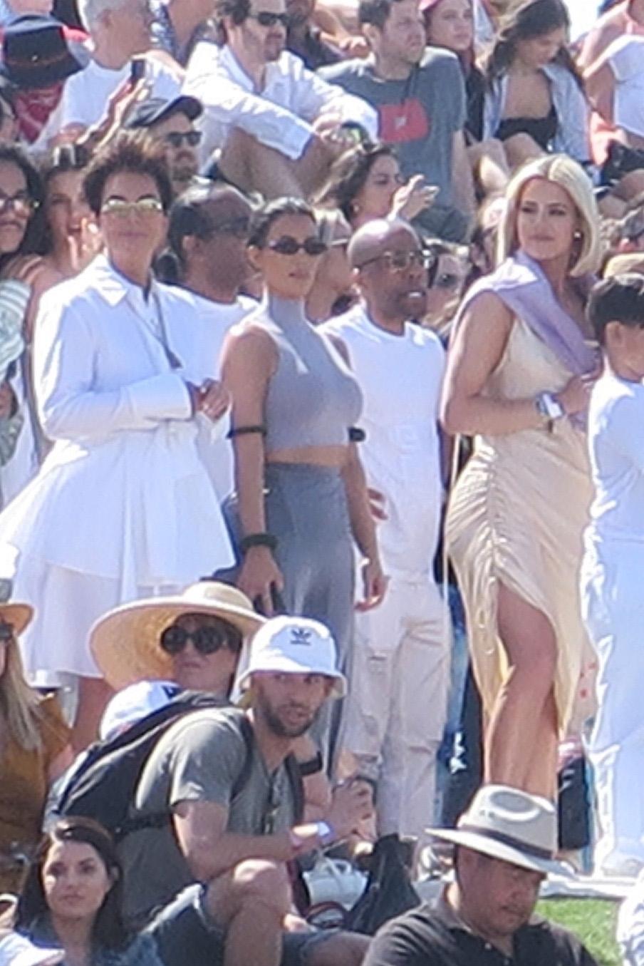 Kris Jenner, Kim Kardashian and Khloe Kardashian attend Kanye West's Coachella Easter church service in Indio, California, on April 21, 2019.