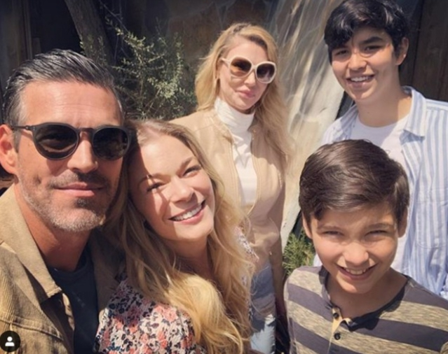 LeAnn Rimes shares a photo of herself with Eddie Cibrian, Brandi Glanville and Eddie and Brandi's sons on Easter 2019.