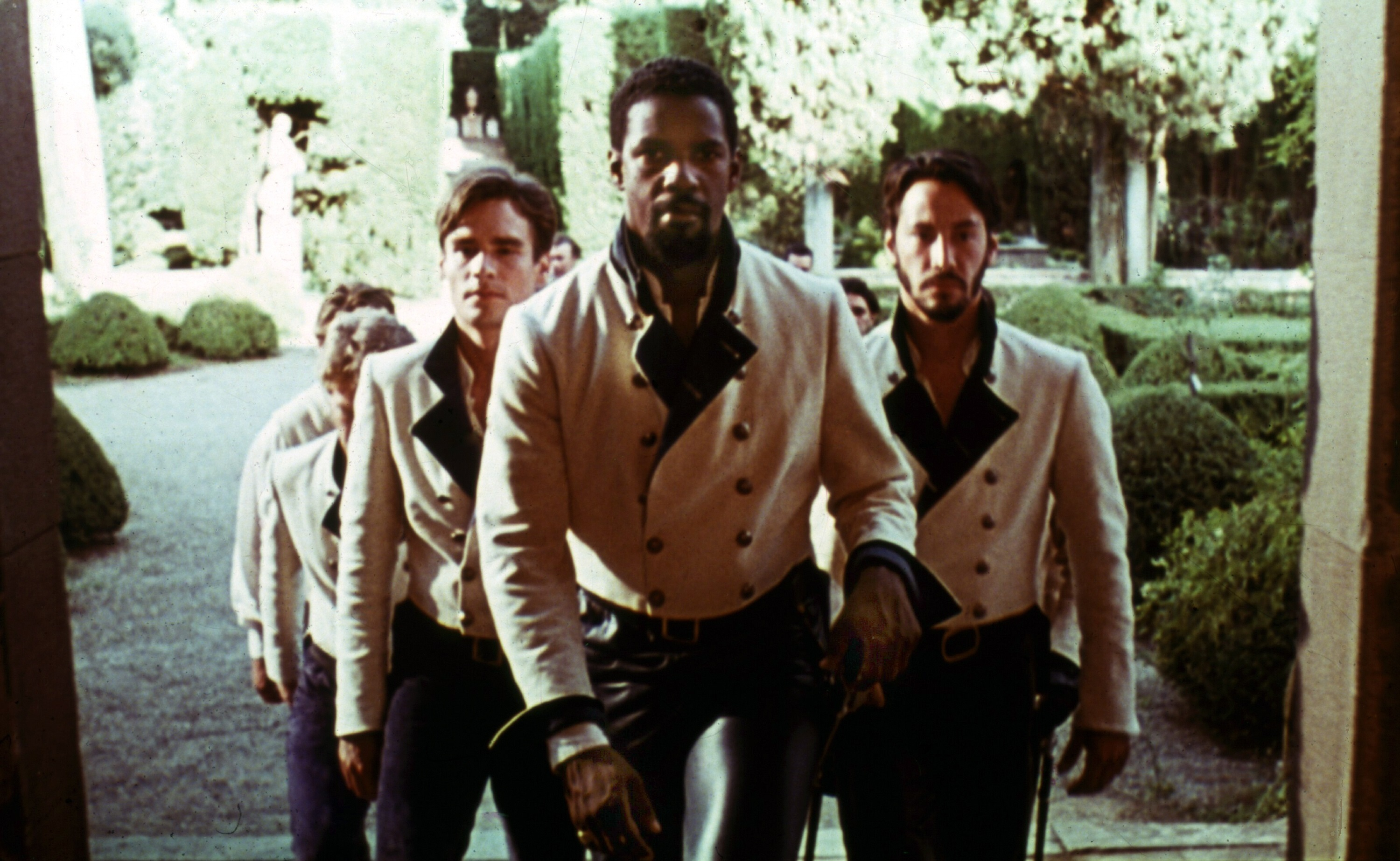 """Robert Sean Leonard, Denzel Washington and Keanu Reeves in 1993's """"Much Ado About Nothing."""""""