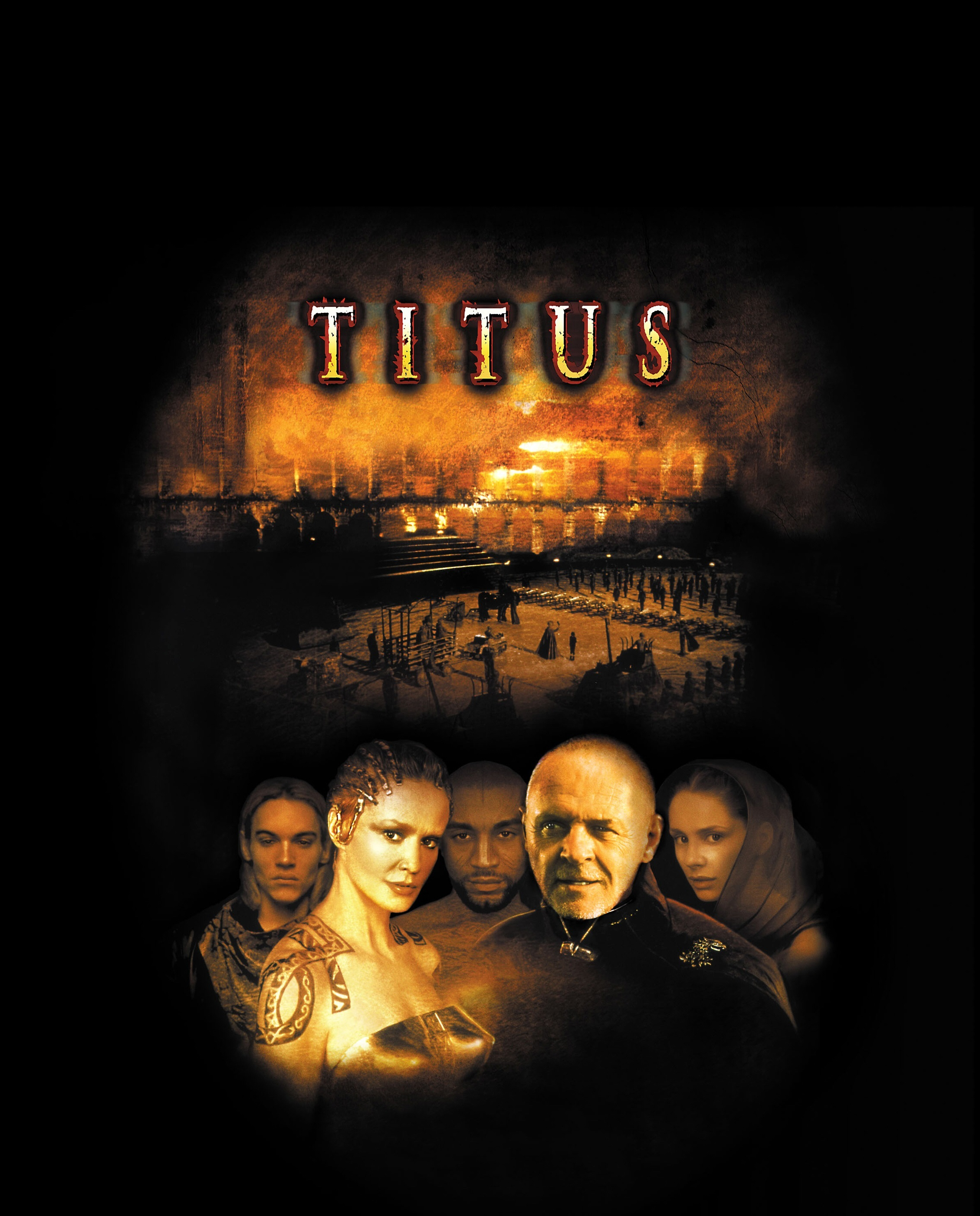 """Jonathan Rhys Meyers, Jessica Lange, Harry Lennix, Anthony Hopkins and Laura Fraser in 1999's """"Titus."""""""