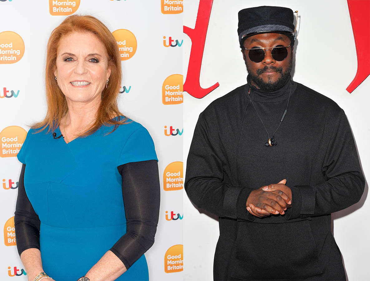 Sarah Ferguson Duchess of York stops by 'Good Morning Britain' TV show in London on Nov. 21, 2018. / will.i.am attends the grand opening of Westfield Century City at Westfield Century City on Oct. 3, 2017 in Los Angeles.