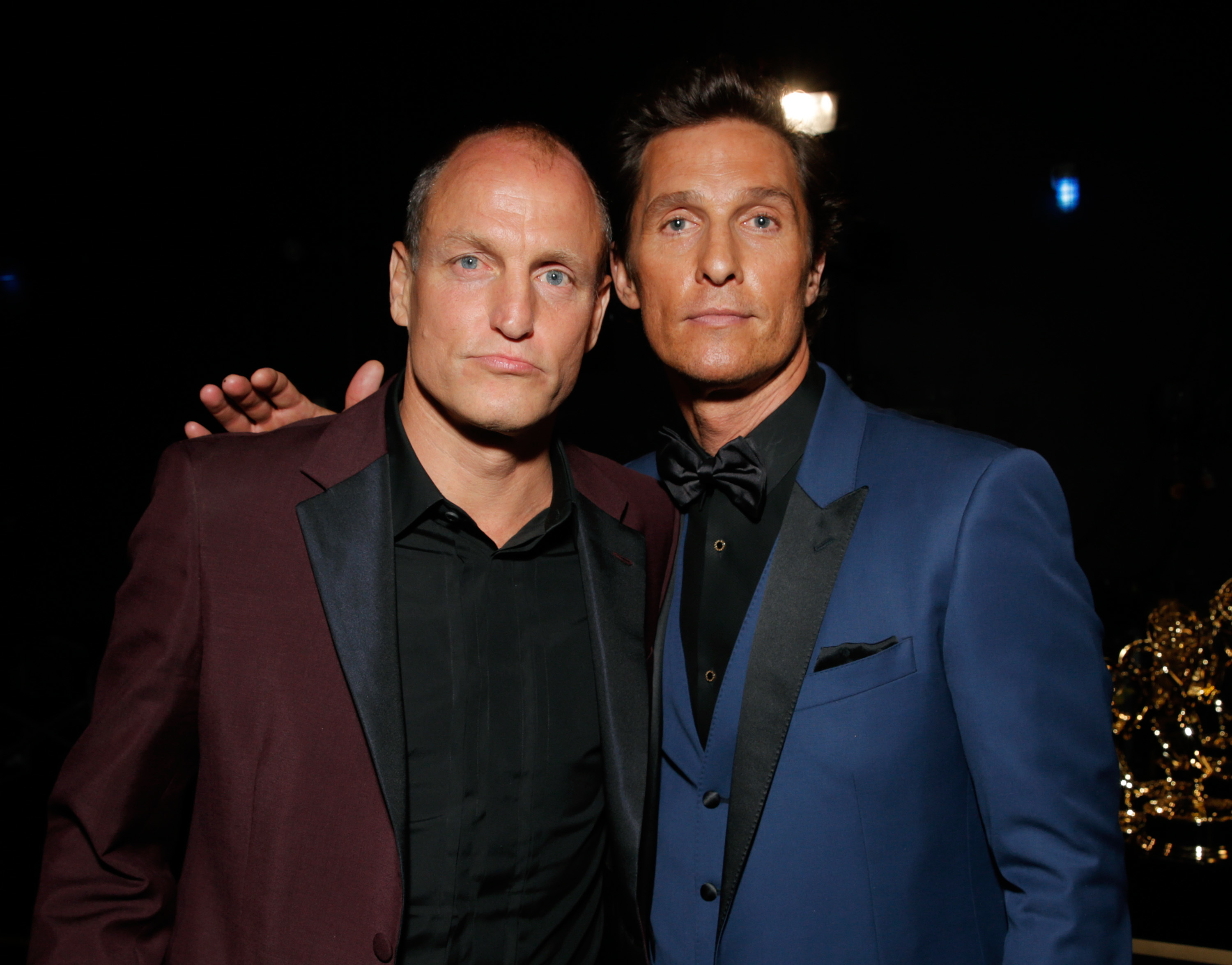Woody Harrelson and Matthew McConaughey attend the 66th Primetime Emmy Awards at the Nokia Theatre at L.A. Live in Los Angeles on Aug. 25, 2014.