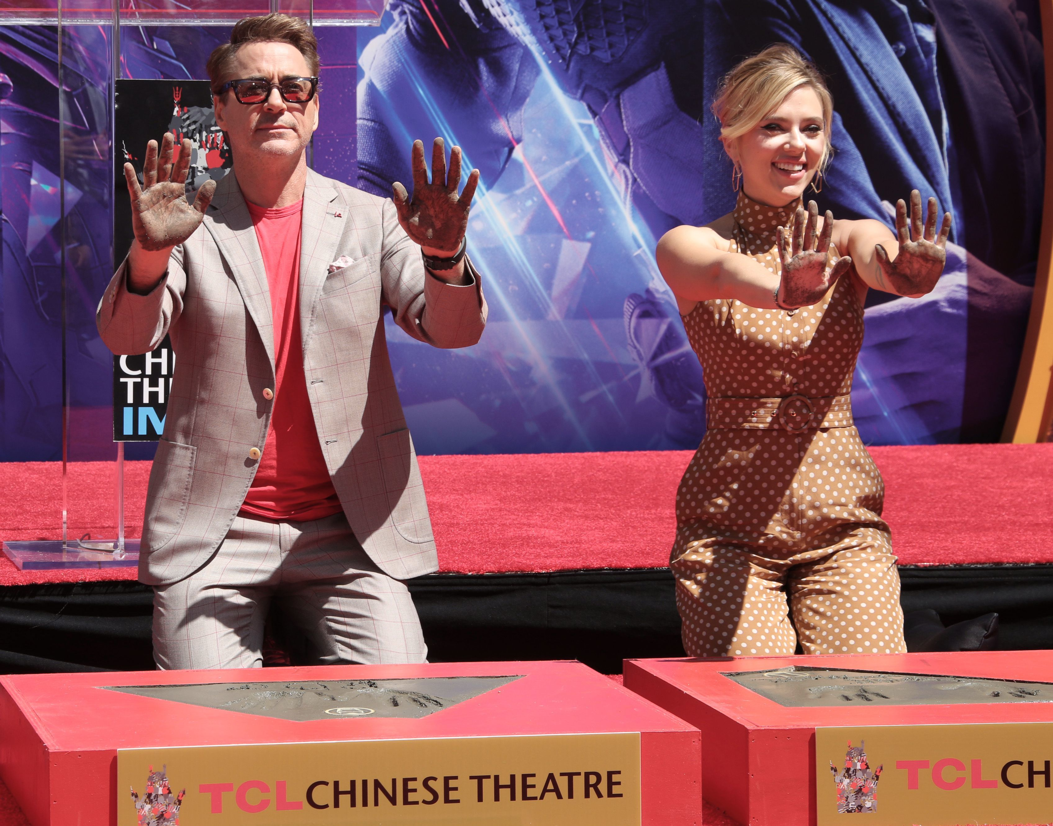 "Robert Downey Jr. and Scarlett Johansson appear at the ""Avengers: Endgame"" Cast Handprint Ceremony in Los Angeles on April 23, 2019."