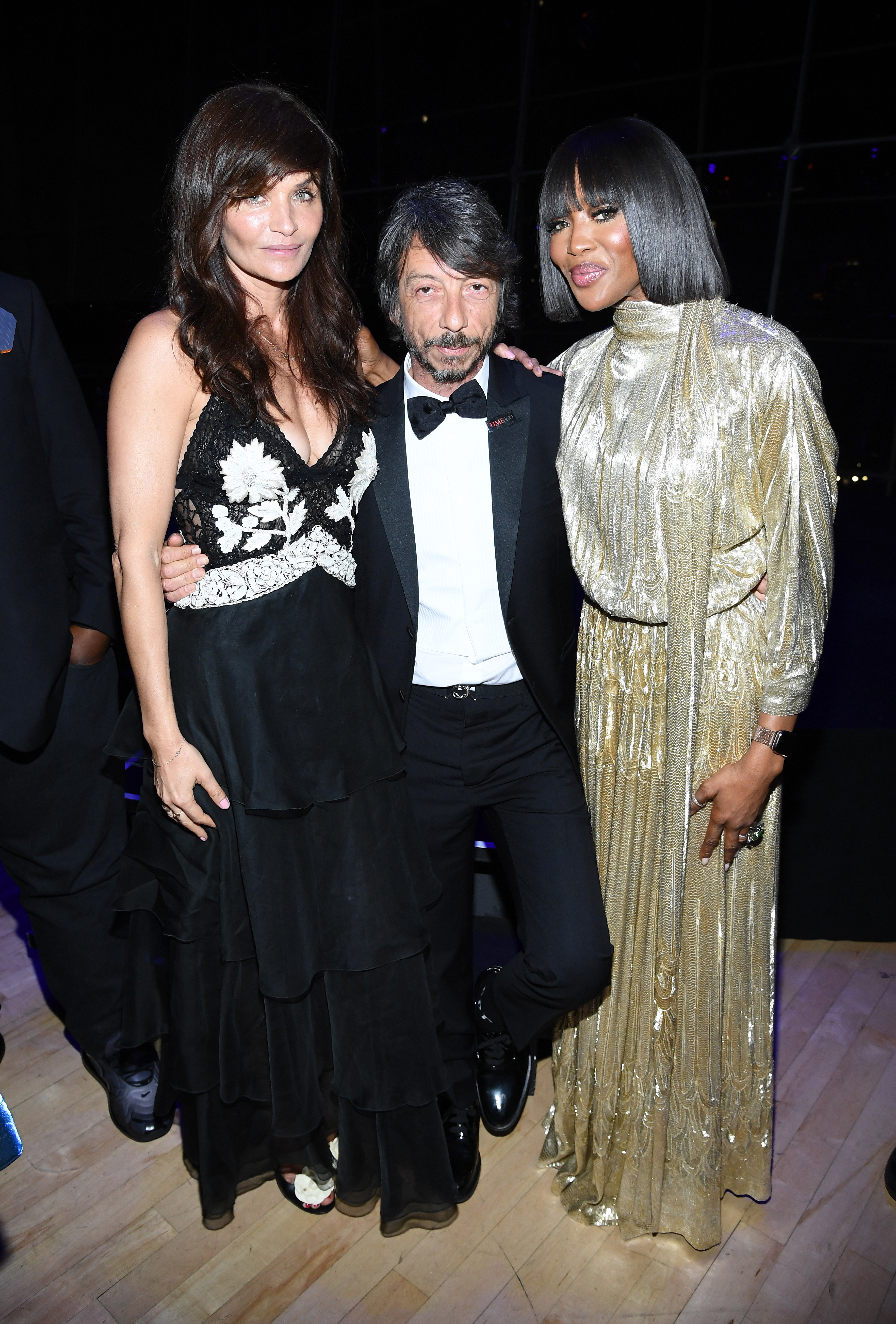 Helena Christensen, Pierpaolo Piccioli and Naomi Campbell pose together at the TIME 100 Gala 2019 dinner at Jazz at Lincoln Center in New York City on April 23, 2019.