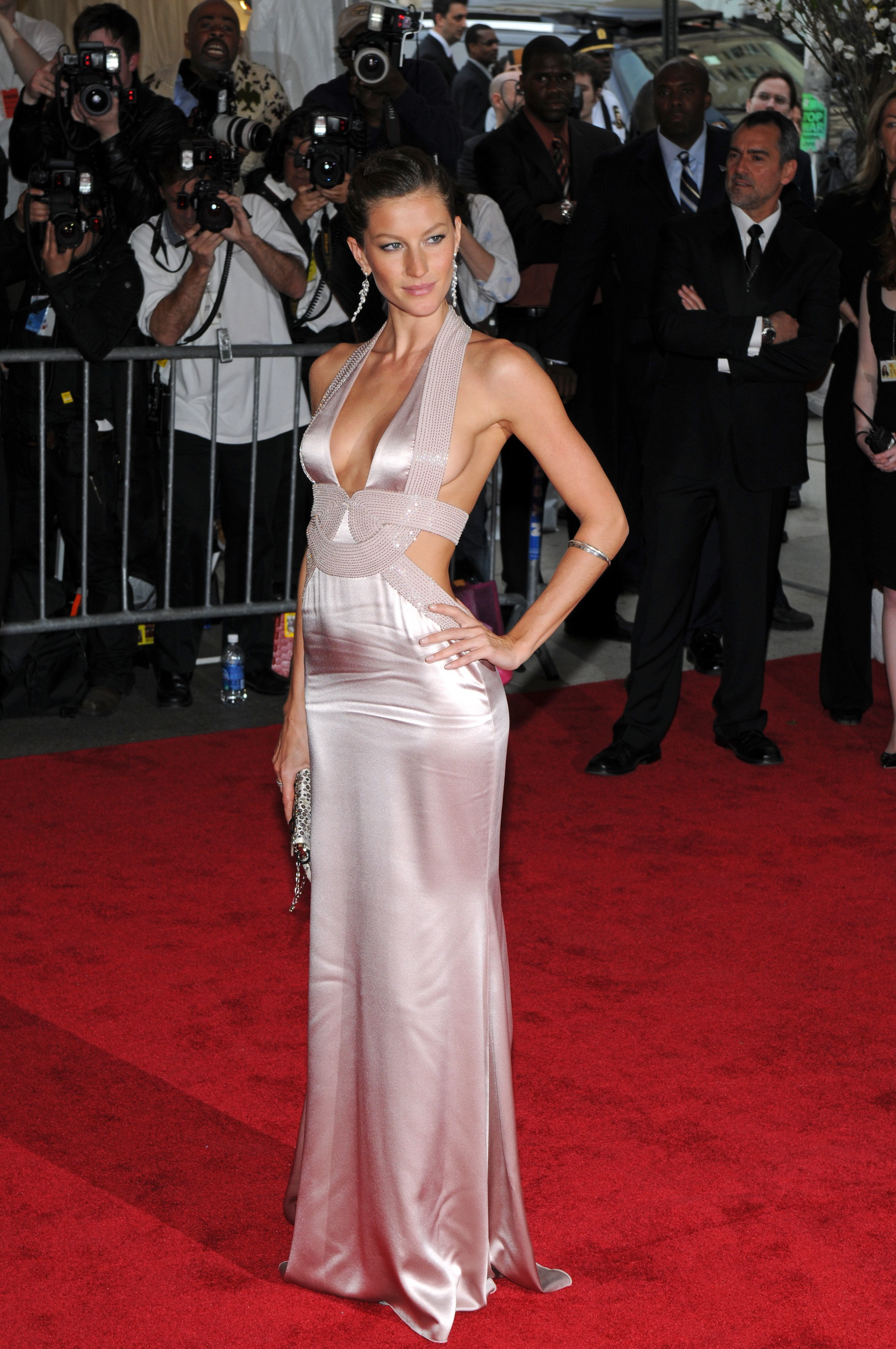Gisele Bundchen attends the Costume Institute Gala: Superheroes: Fashion and Fantasy at The Metropolitan Museum of Art in New York on May 5, 2008.