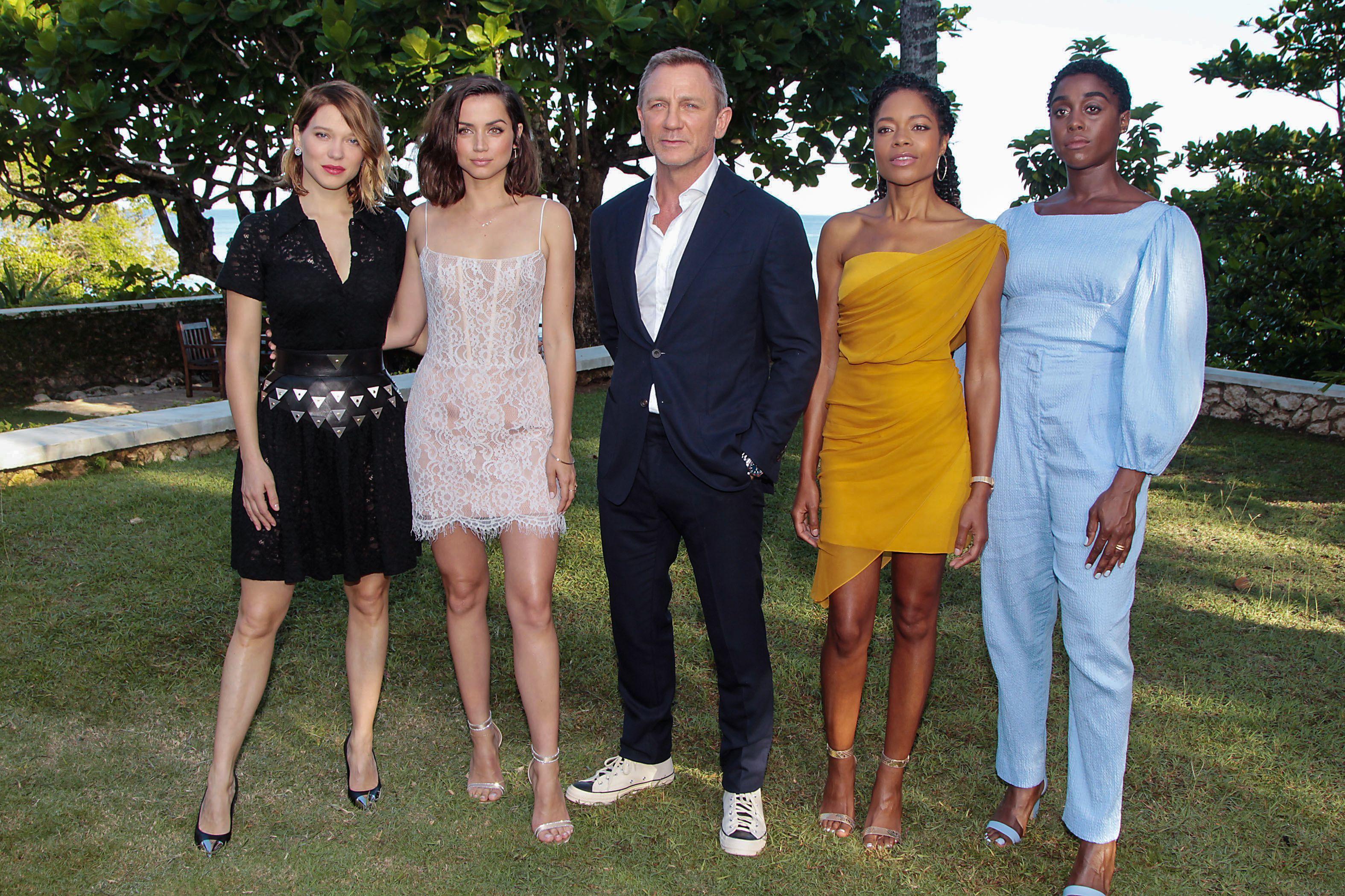 "Lea Seydoux, Ana de Armas, Daniel Craig, Naomie Harris and Lashana Lynch attend the photocall announcing ""Bond 25"" in Jamaica on April 25, 2019."