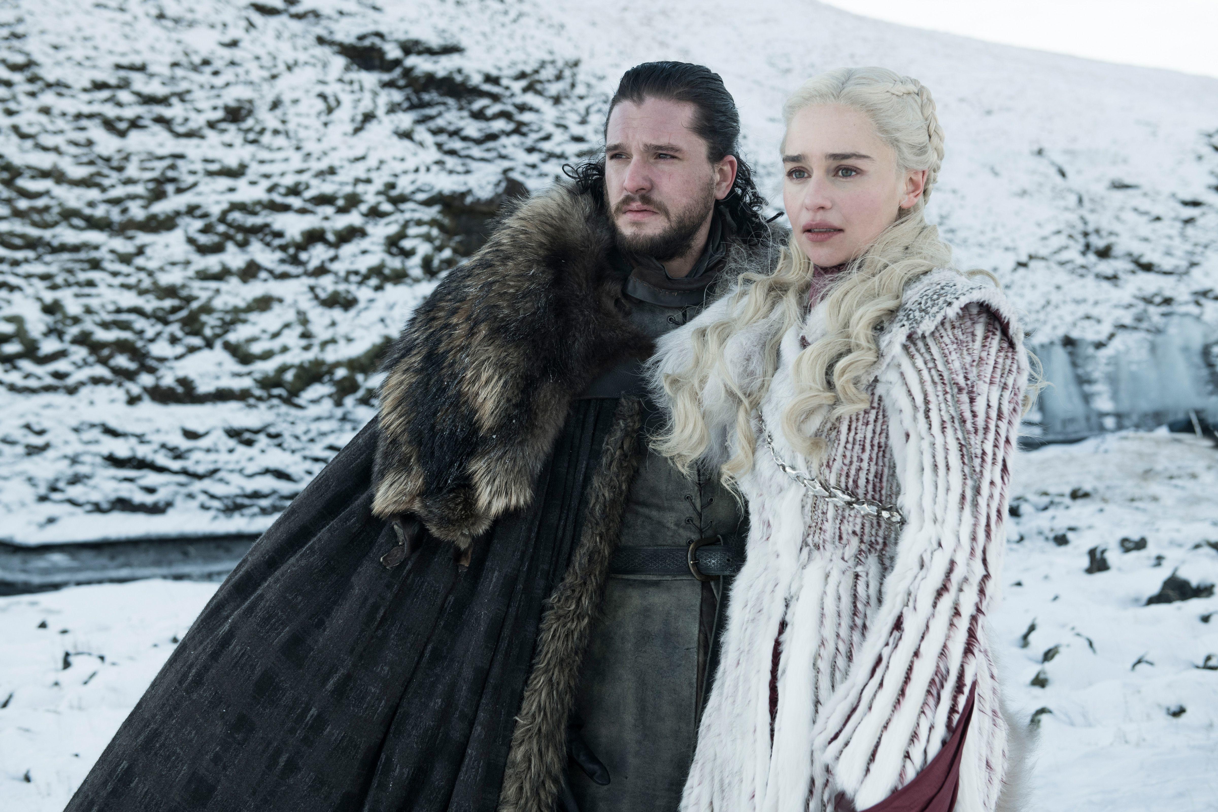 "Kit Harington as Jon Snow and Emilia Clarke as Daenerys Targaryen on Season 8 of HBO's ""Game of Thrones"" in 2019."