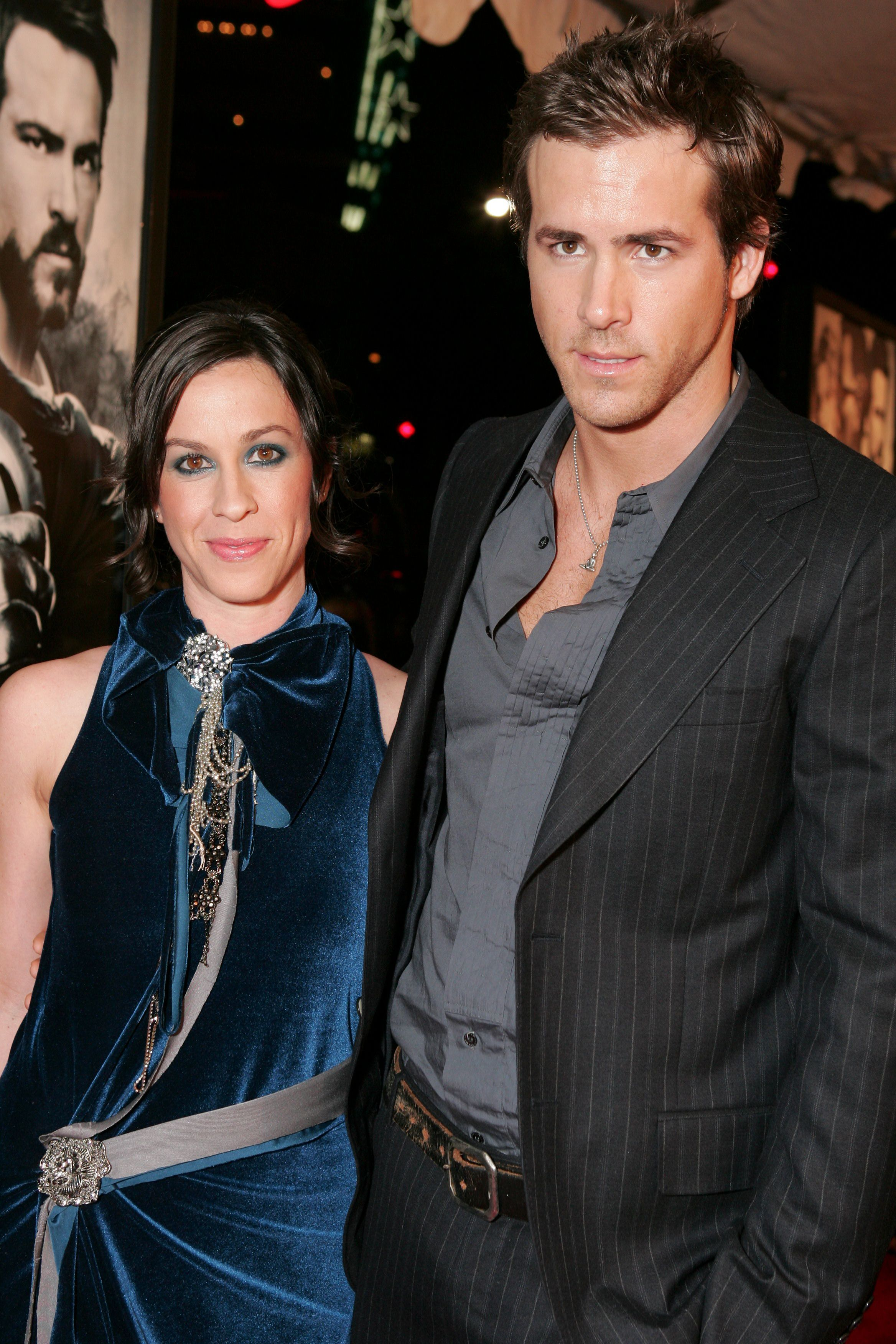 "Alanis Morrisette and Ryan Reynolds attend the ""Blade: Trinity"" premiere in Los Angeles on Dec. 7, 2004."