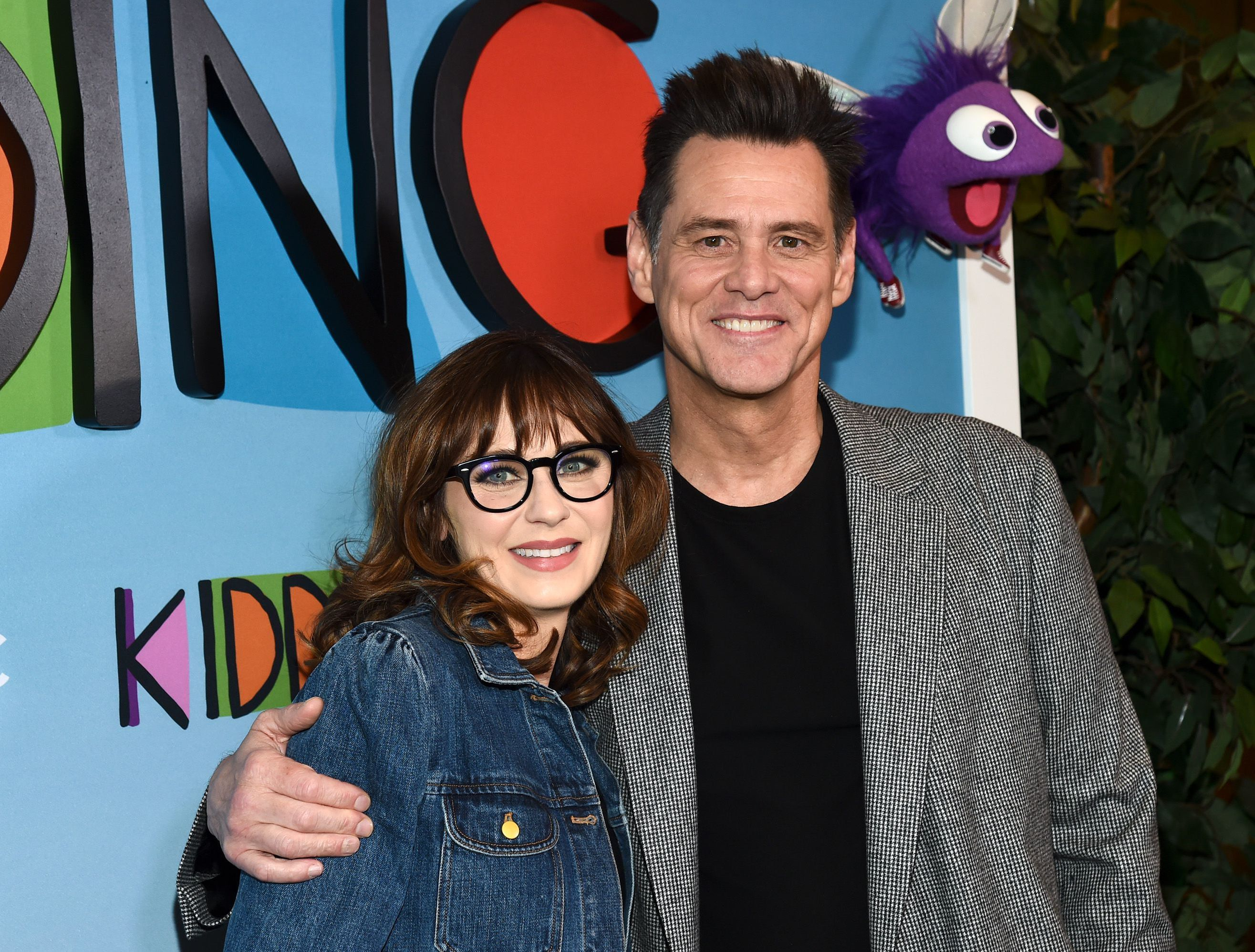 "Zooey Deschanel and Jim Carrey attend Showtime's ""Kidding"" TV show screening in Los Angeles on May 1, 2019."