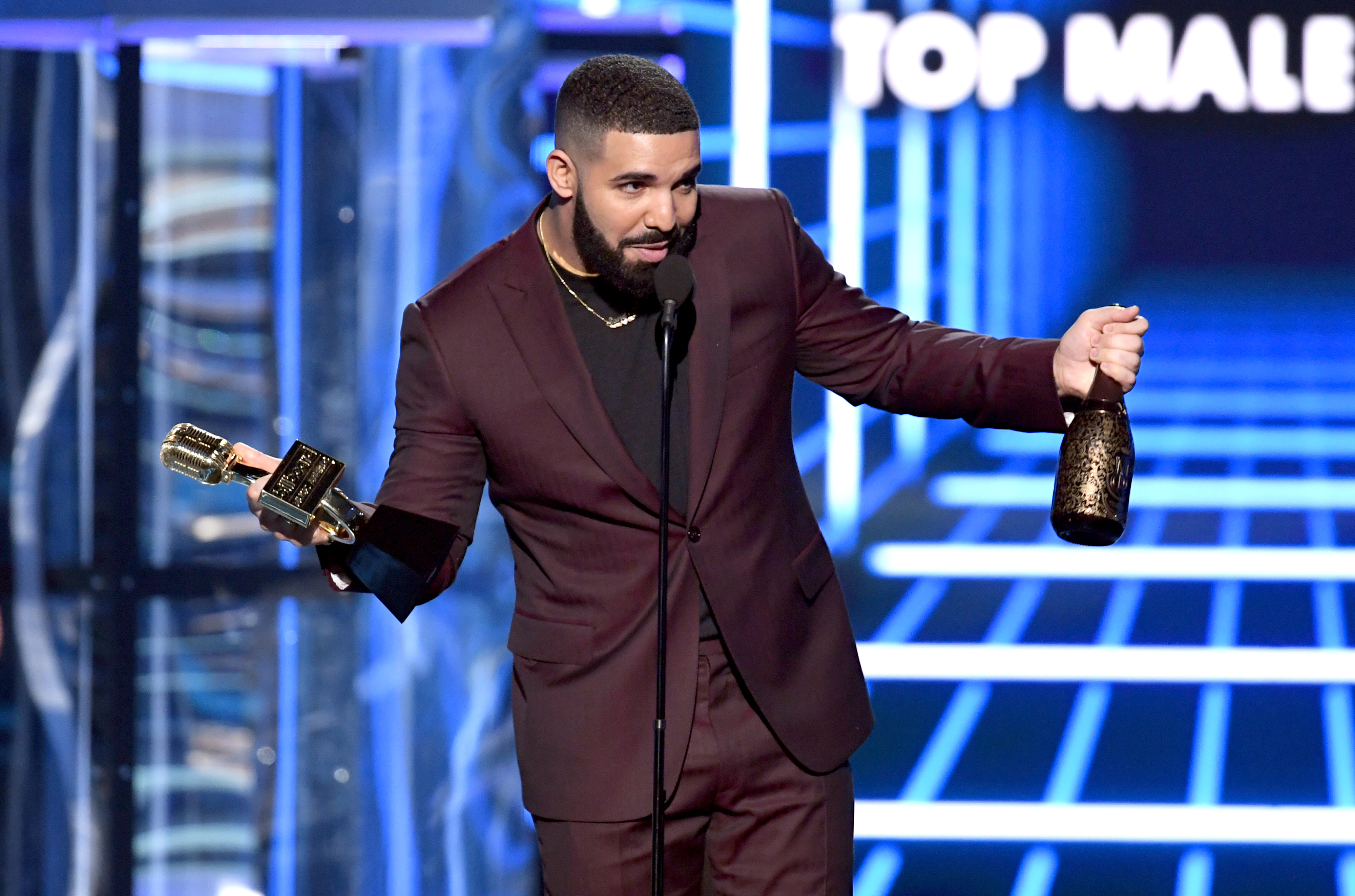Drake accepts the award for top male artist during the Billboard Music Awards at the MGM Grand Garden Arena in Las Vegas on May 1, 2019.