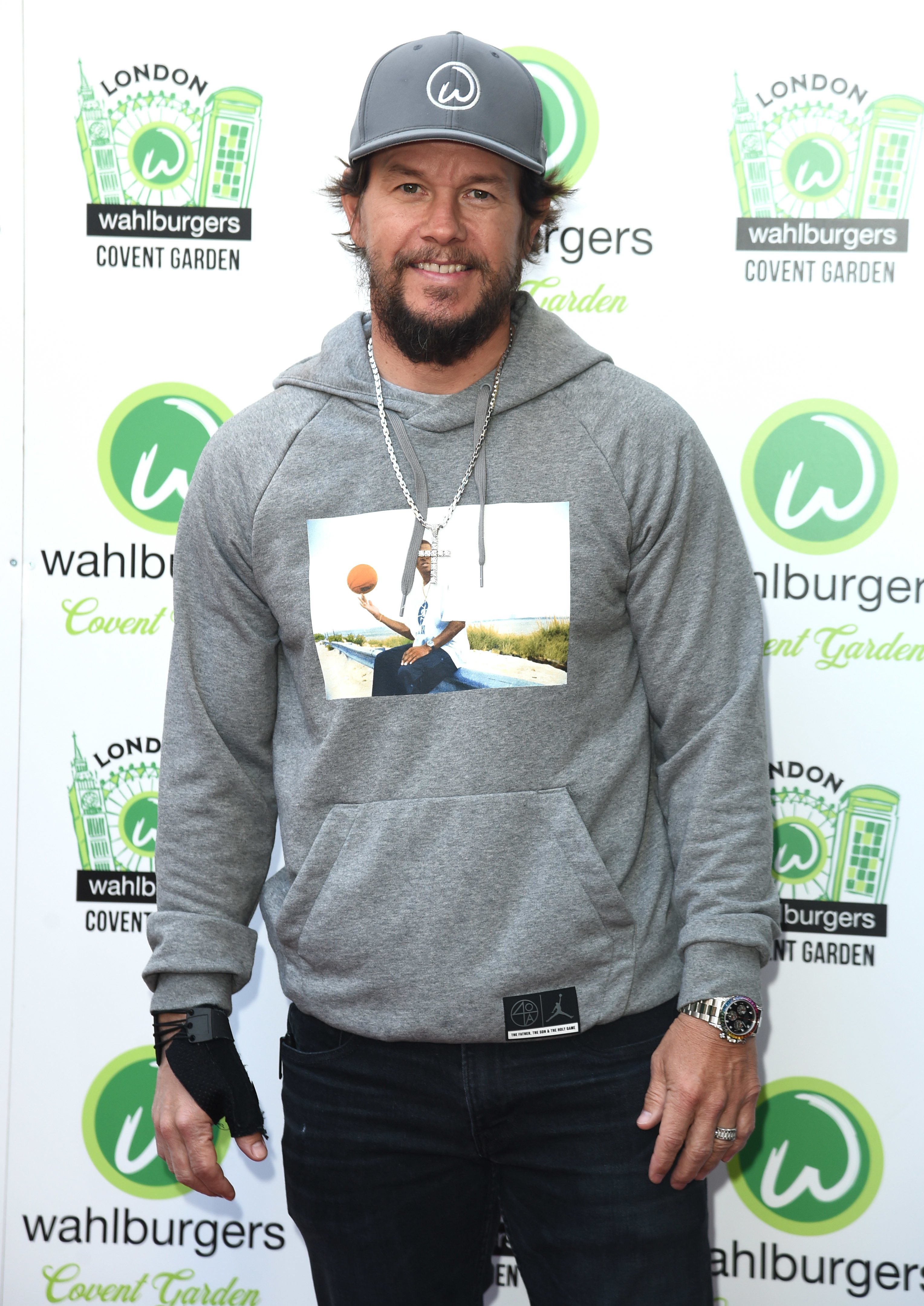 Mark Wahlberg attends the Wahlburgers restaurant launch in Covent Garden in London on May 4, 2019.