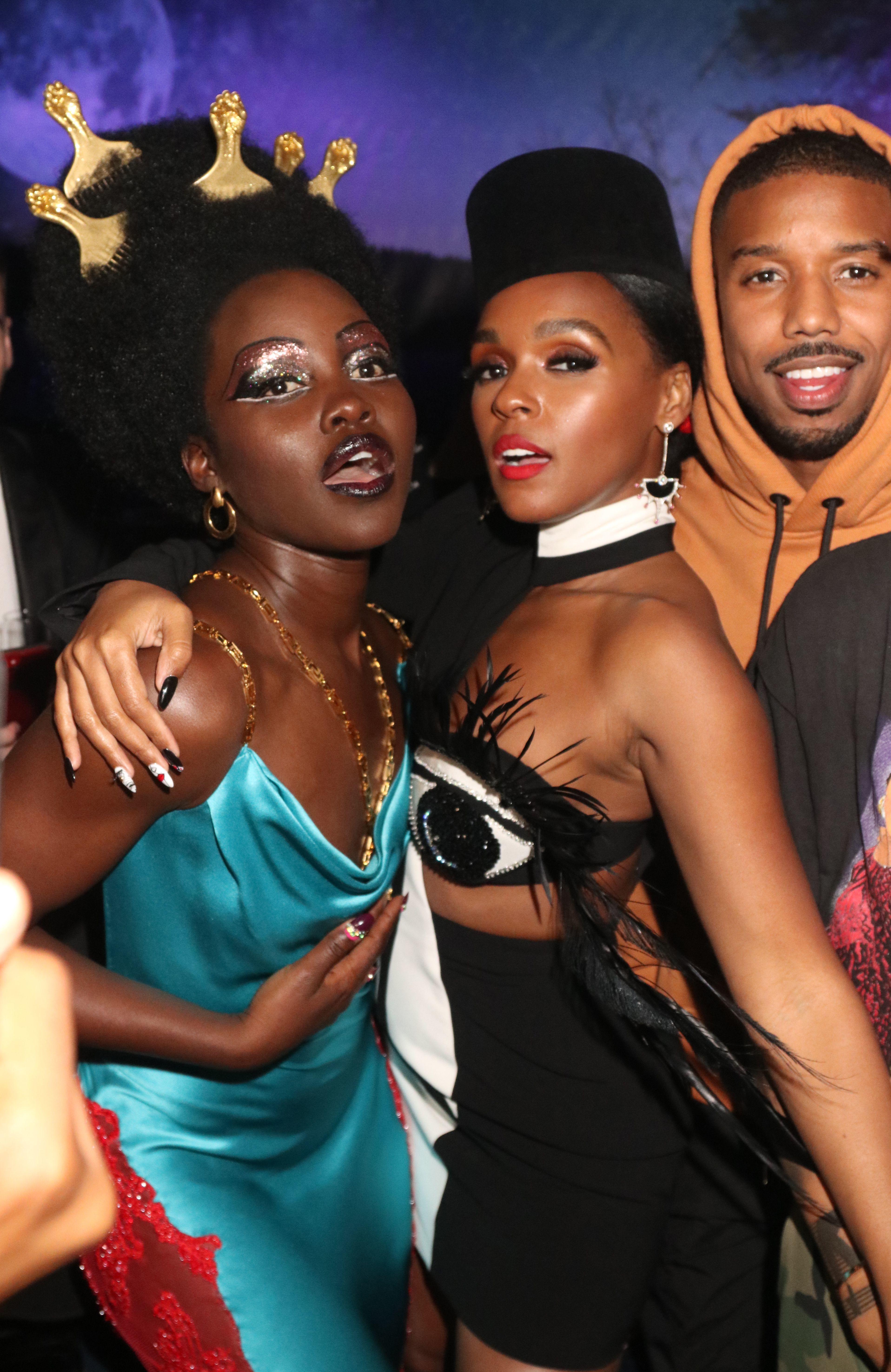 Lupita Nyong'o, Janelle Monae and Michael B. Jordan hang out at Kim Kardashian West's Met Gala afterparty at Up & Down in New York City on May 6, 2019.