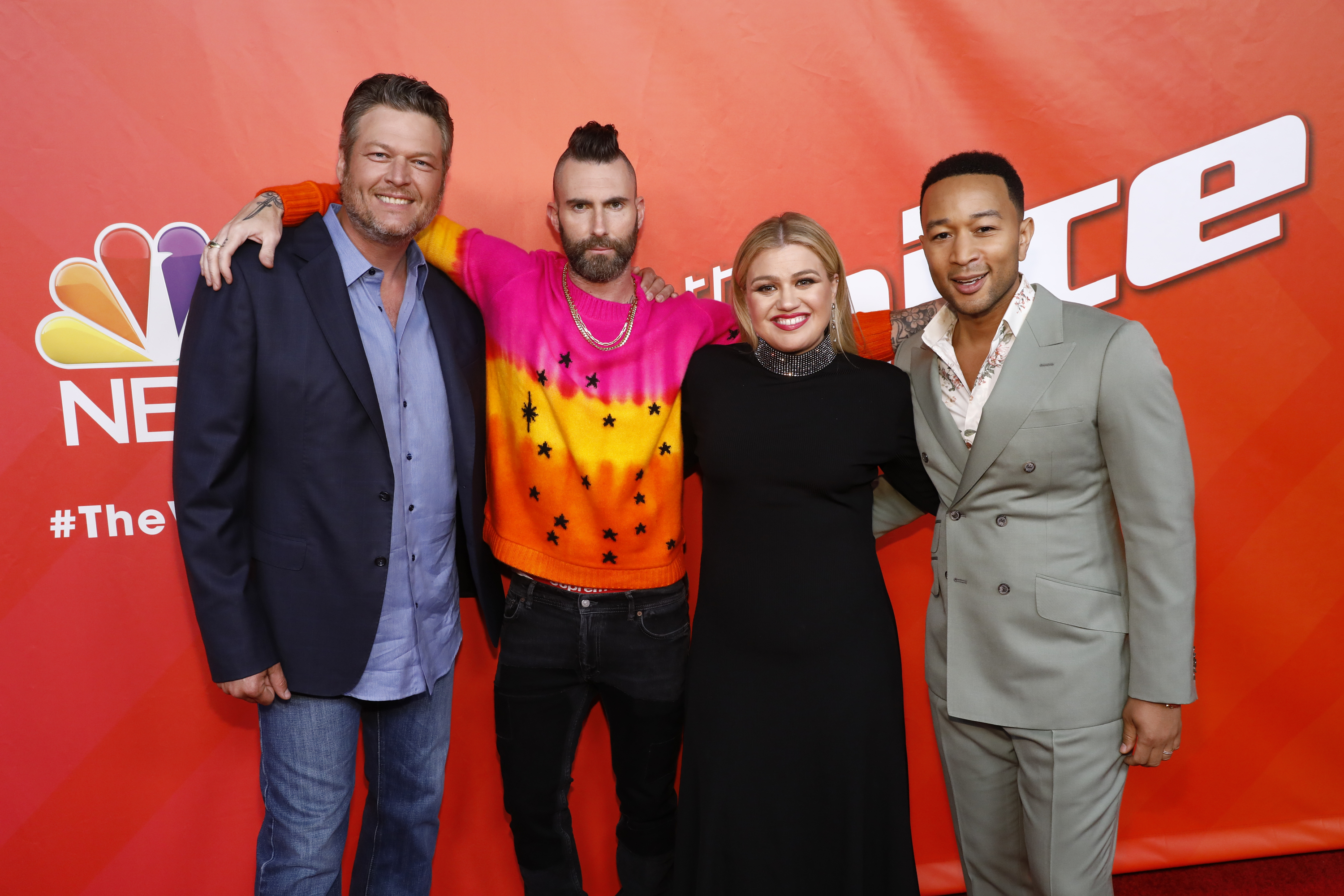 """Blake Shelton, Adam Levine, Kelly Clarkson, John Legend appear during an episode of """"The Voice"""" on May 6, 2019."""