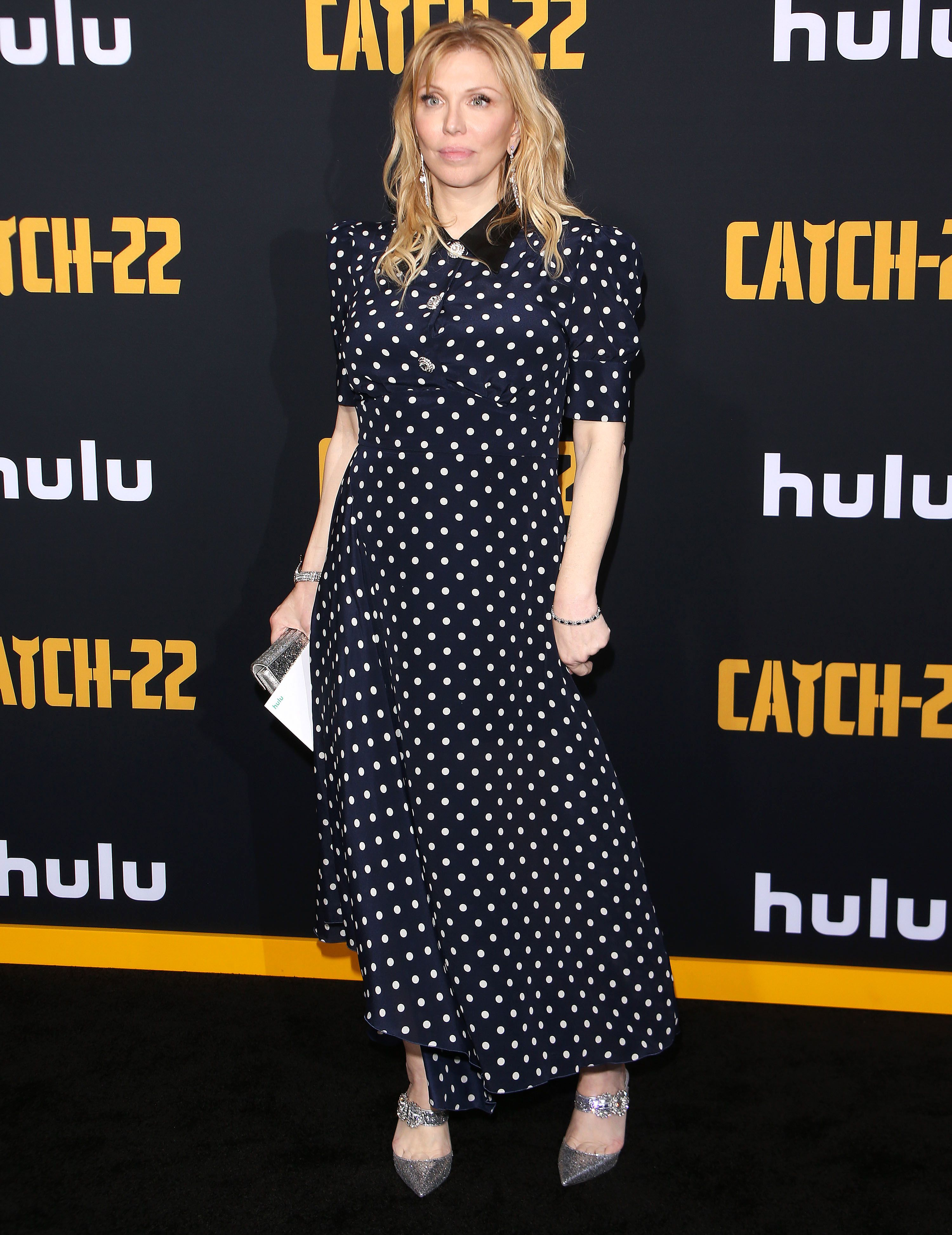 "Courtney Love arrives at the premiere of ""Catch 22"" in Los Angeles on May 7, 2019."