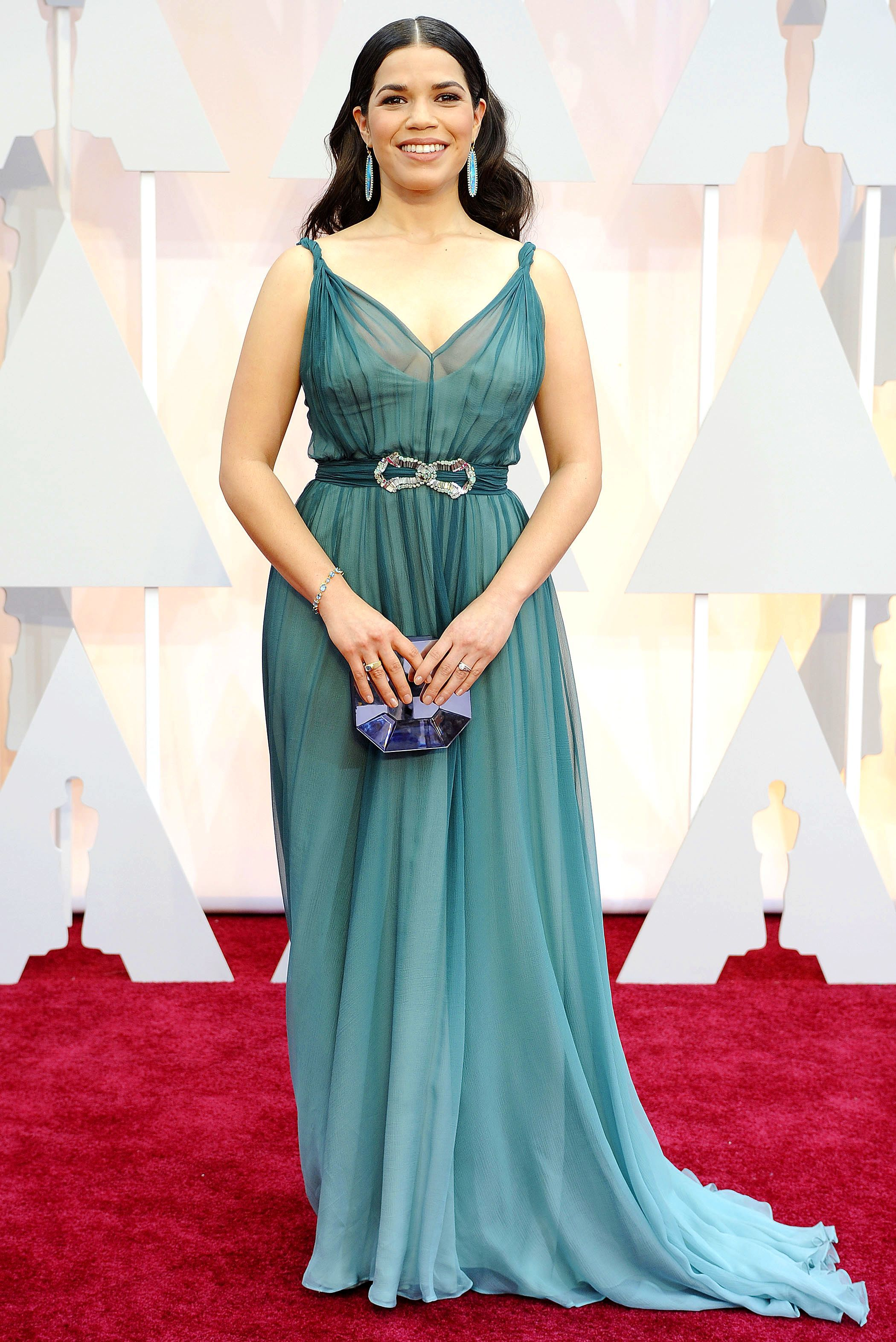 America Ferrera attends the Academy Awards at the Dolby Theatre in Los Angeles on Feb. 22, 2015.