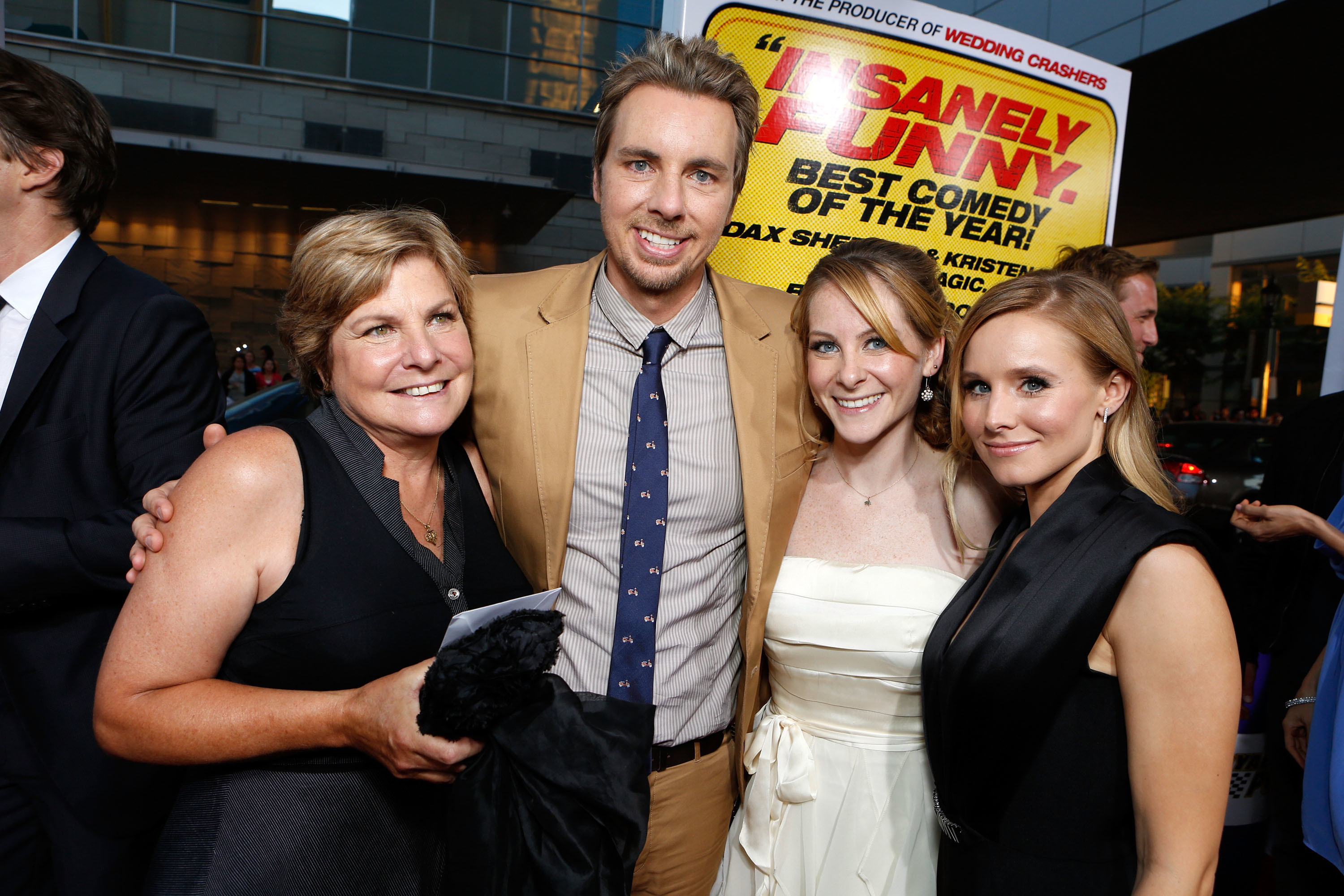 "Dax Shepard's mom, Laura LaBo, and sister Carly Hatter join him and wife Kristen Bell at the premiere of ""Hit and Run"" at the Regal Cinemas L.A. LIVE Stadium 14 theater in Los Angeles on Aug. 14, 2012."